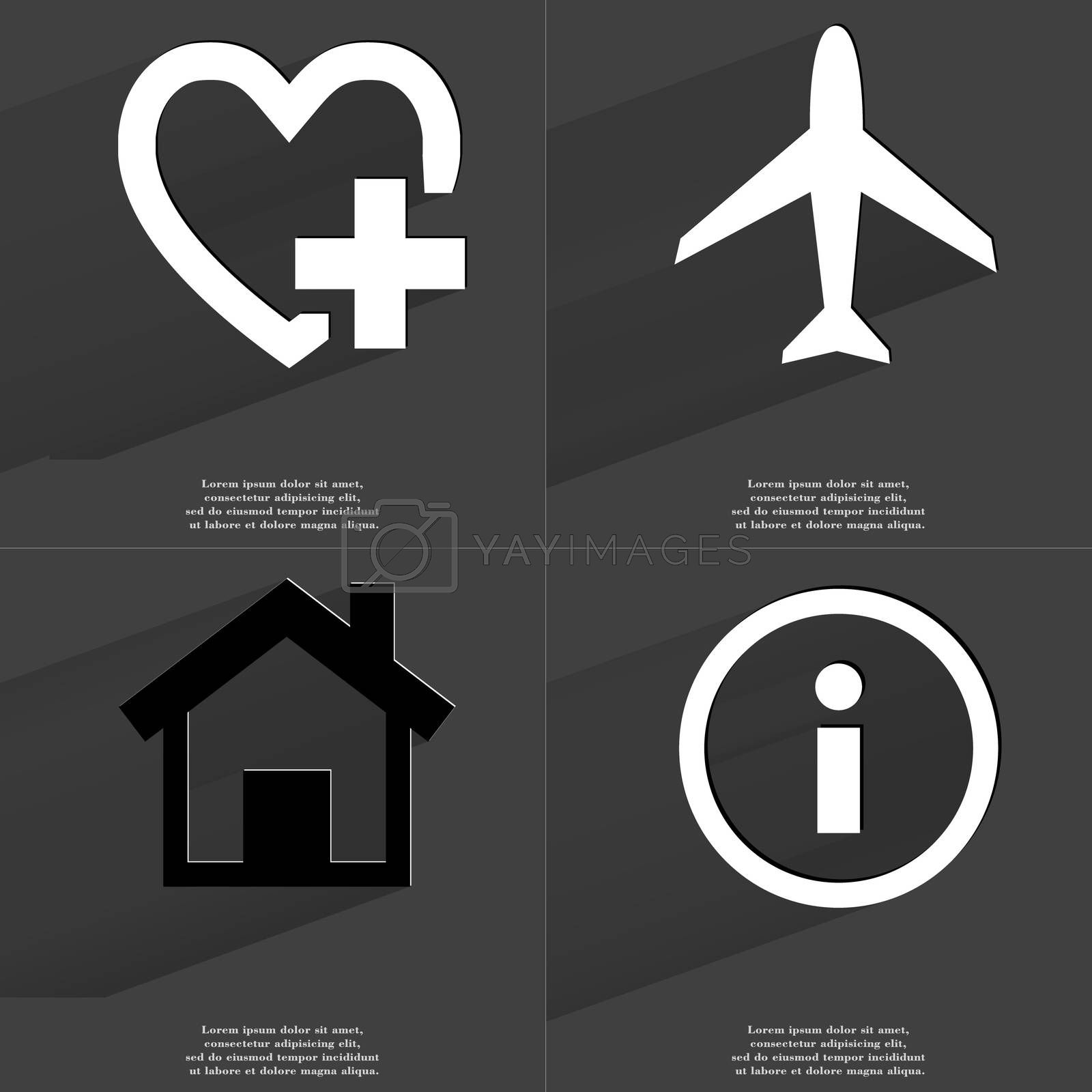 Royalty free image of Heart plus, Airplane, House, Information. Symbols with long shadow. Flat design by serhii_lohvyniuk