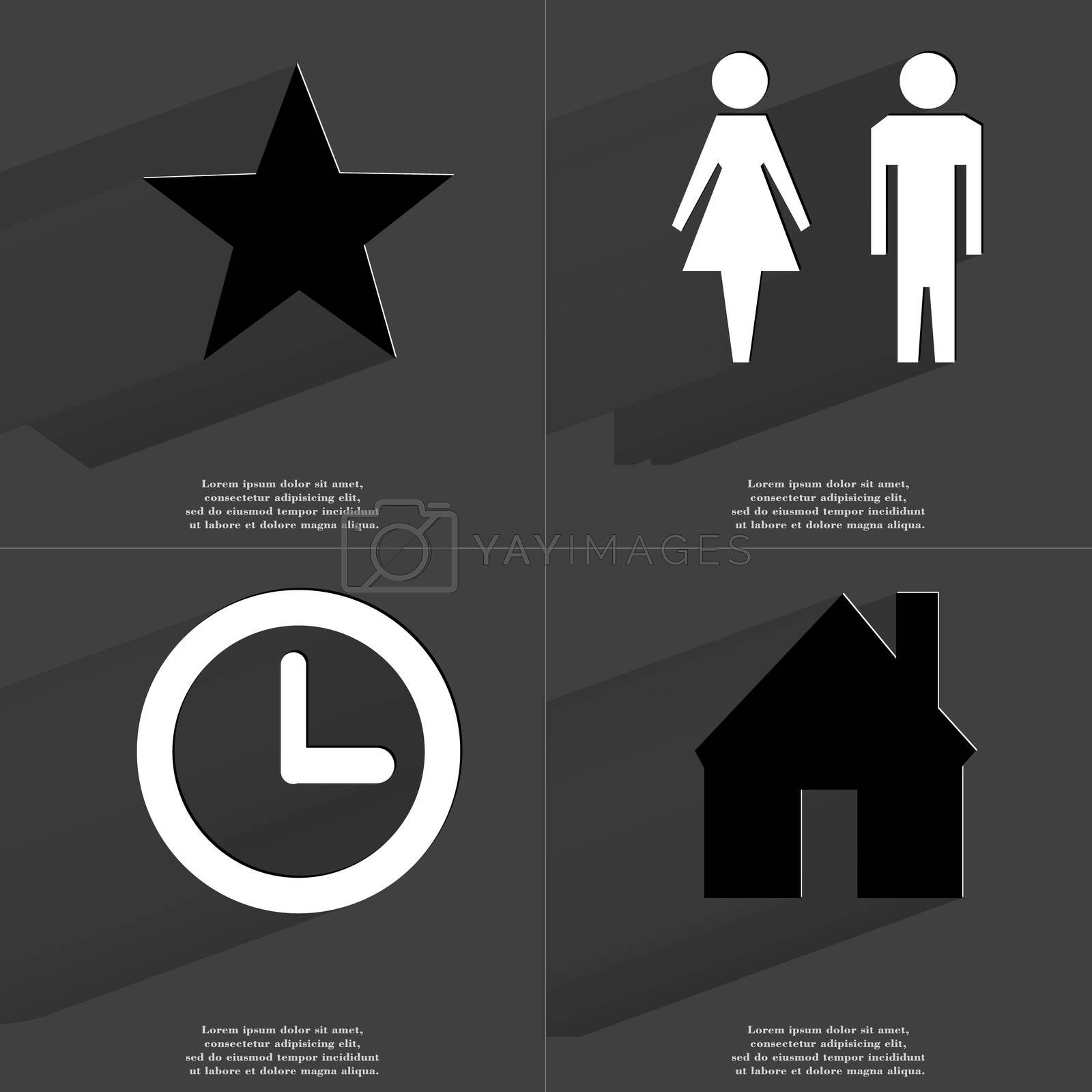 Royalty free image of Star, Silhouette of man and woman, Clock, House. Symbols with long shadow. Flat design by serhii_lohvyniuk