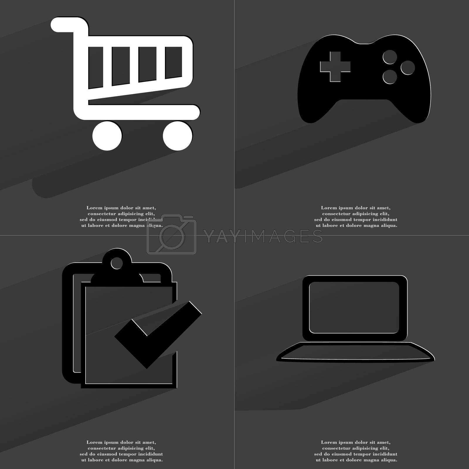 Shopping cart, Gamepad, Task completed icon, Laptop. Symbols with long shadow. Flat design by serhii_lohvyniuk