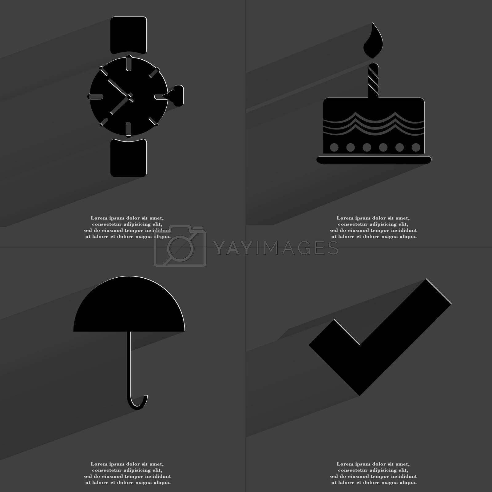 Wrist watch,  Cake, Umbrella, Tick sign. Symbols with long shadow. Flat design by serhii_lohvyniuk