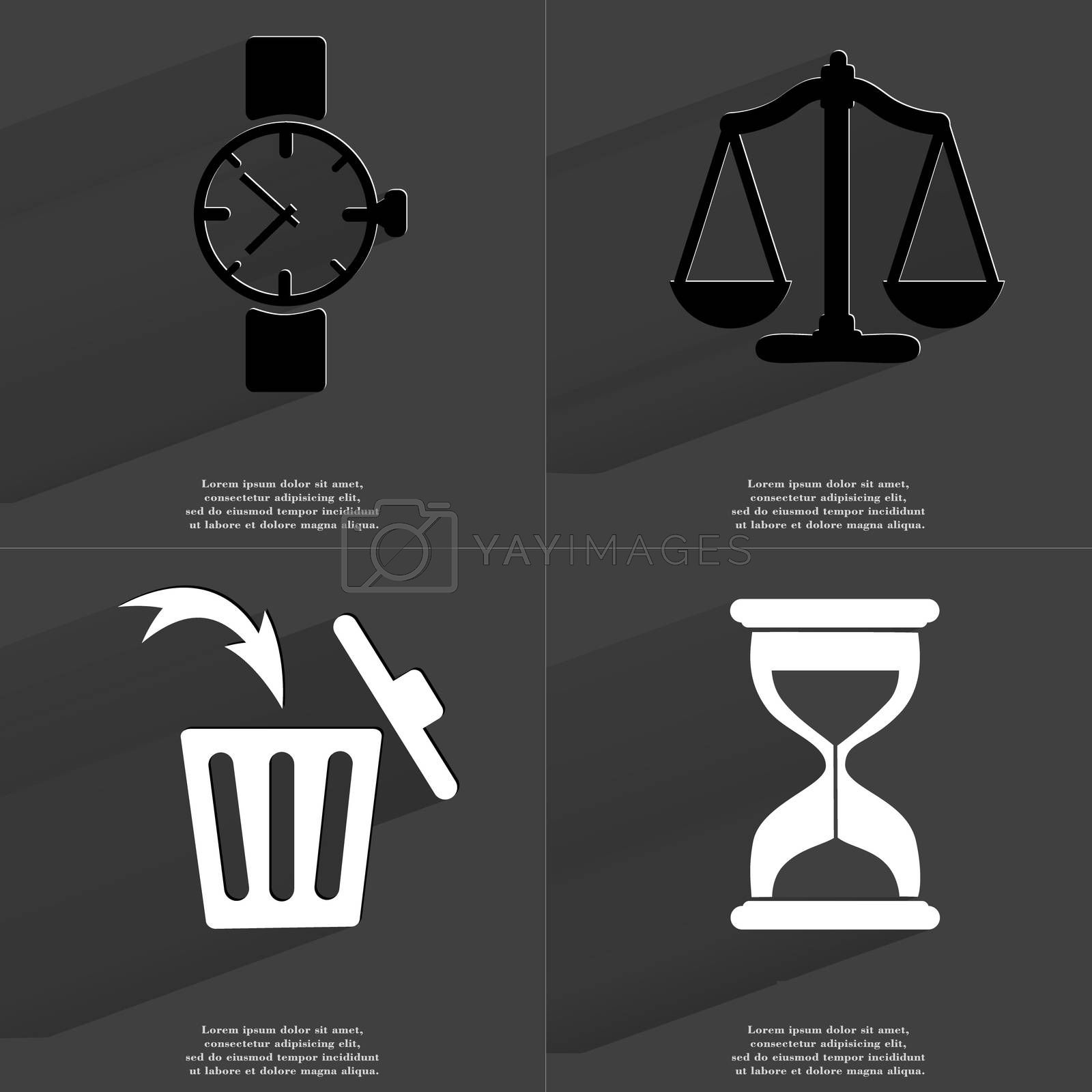 Royalty free image of Wrist watch, Scales, Trash can, Hourglass. Symbols with long shadow. Flat design by serhii_lohvyniuk