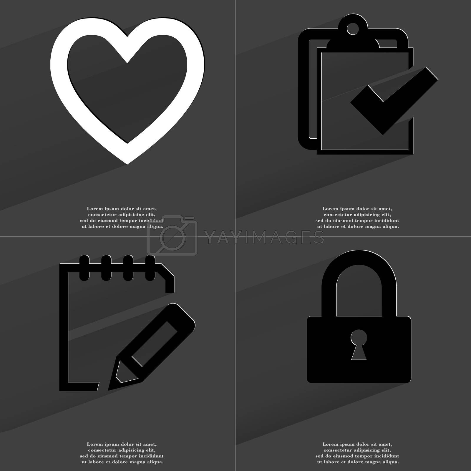 Heart, Task completed icon, Note, Lock. Symbols with long shadow. Flat design by serhii_lohvyniuk