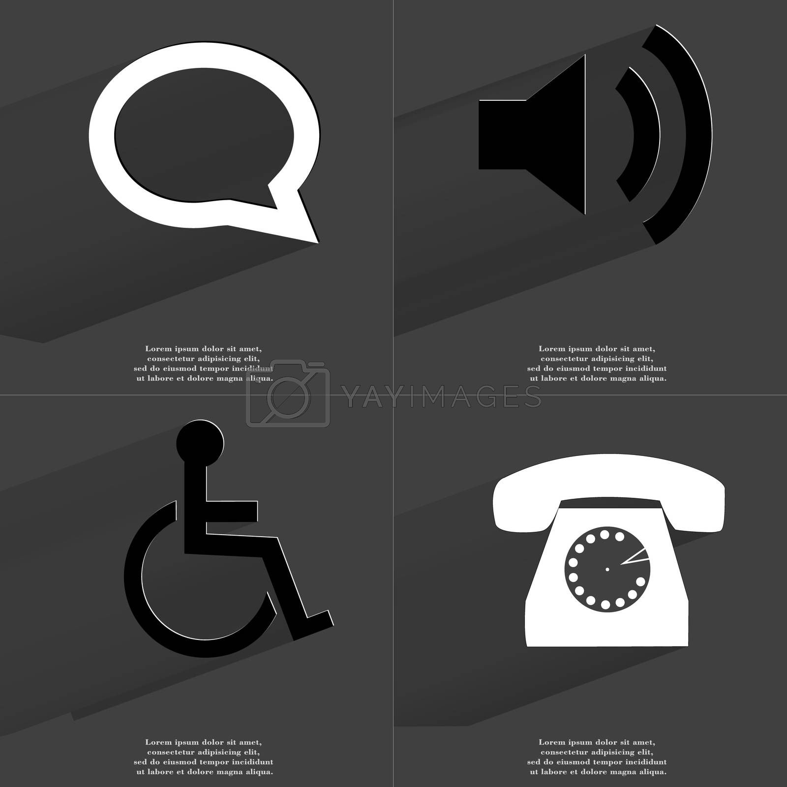 Royalty free image of Chat bubble, Sound icon, Disabled Person, Retro phone. Symbols with long shadow. Flat design by serhii_lohvyniuk