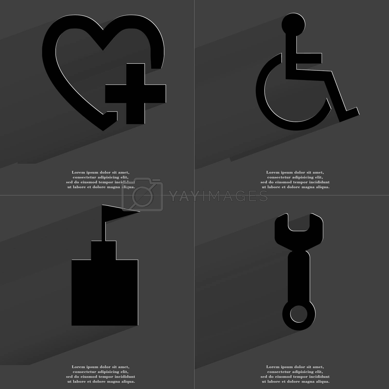 Royalty free image of Heart plus, Disabled person, Flag tower, Wrench. Symbols with long shadow. Flat design by serhii_lohvyniuk