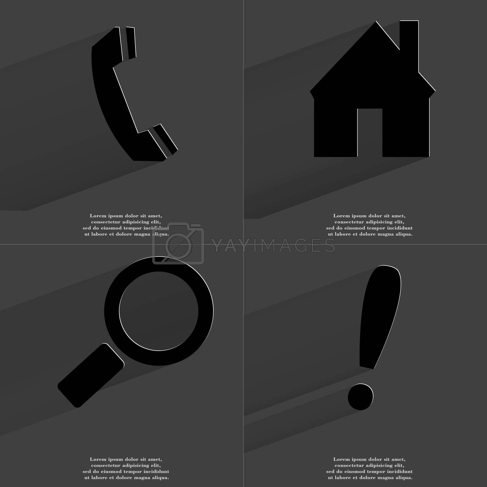 Royalty free image of Receiver, House, Magnifying glass, Exclamation mark. Symbols with long shadow. Flat design by serhii_lohvyniuk