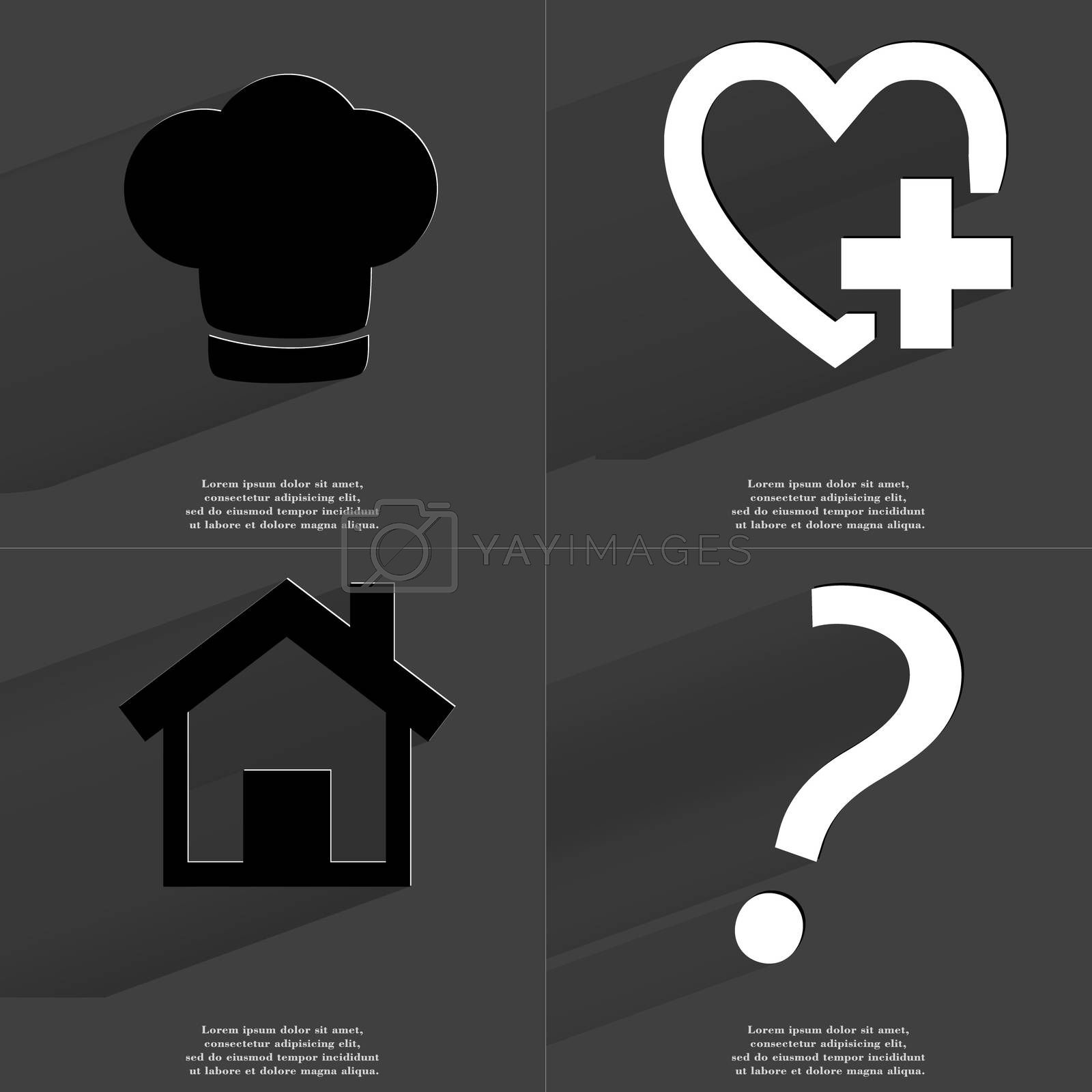 Royalty free image of Cooking hat, Heart plus sign, House, Question mark. Symbols with long shadow. Flat design by serhii_lohvyniuk