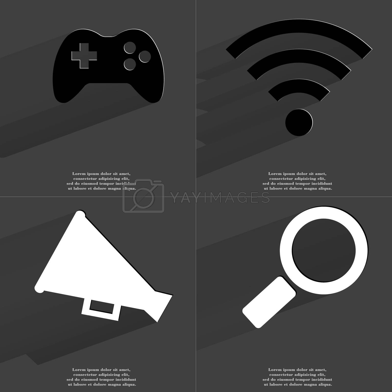 Royalty free image of Gamepad, WLAN icon, Megaphone, Magnifying glass. Symbols with long shadow. Flat design by serhii_lohvyniuk