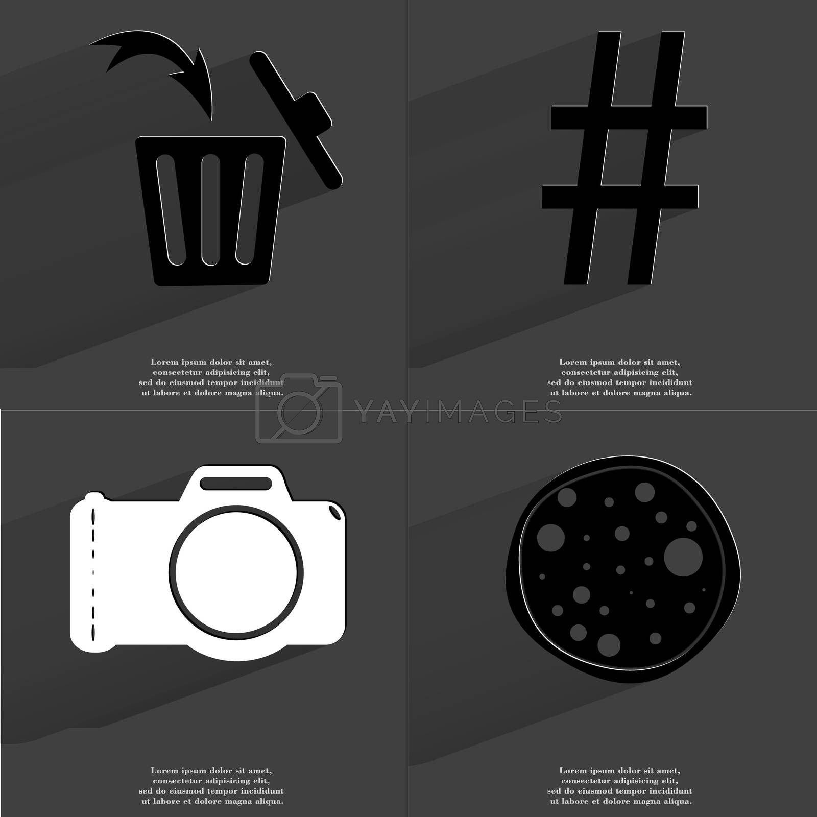 Royalty free image of Trash can, Number sign, Camera, Pizza. Symbols with long shadow. Flat design by serhii_lohvyniuk