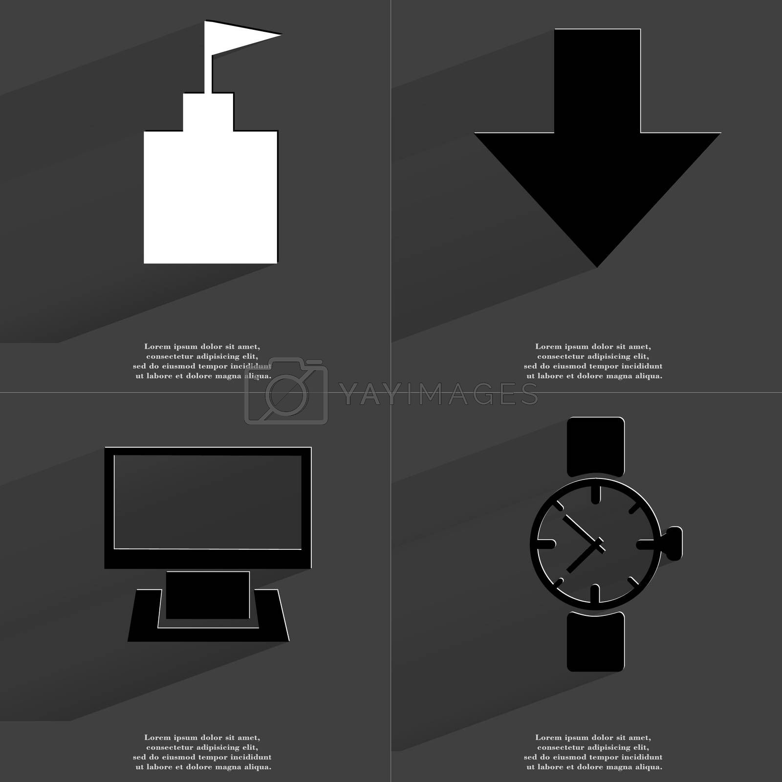 Royalty free image of Flag tower, Arrow directed down, Monitor, Wrist watch. Symbols with long shadow. Flat design by serhii_lohvyniuk