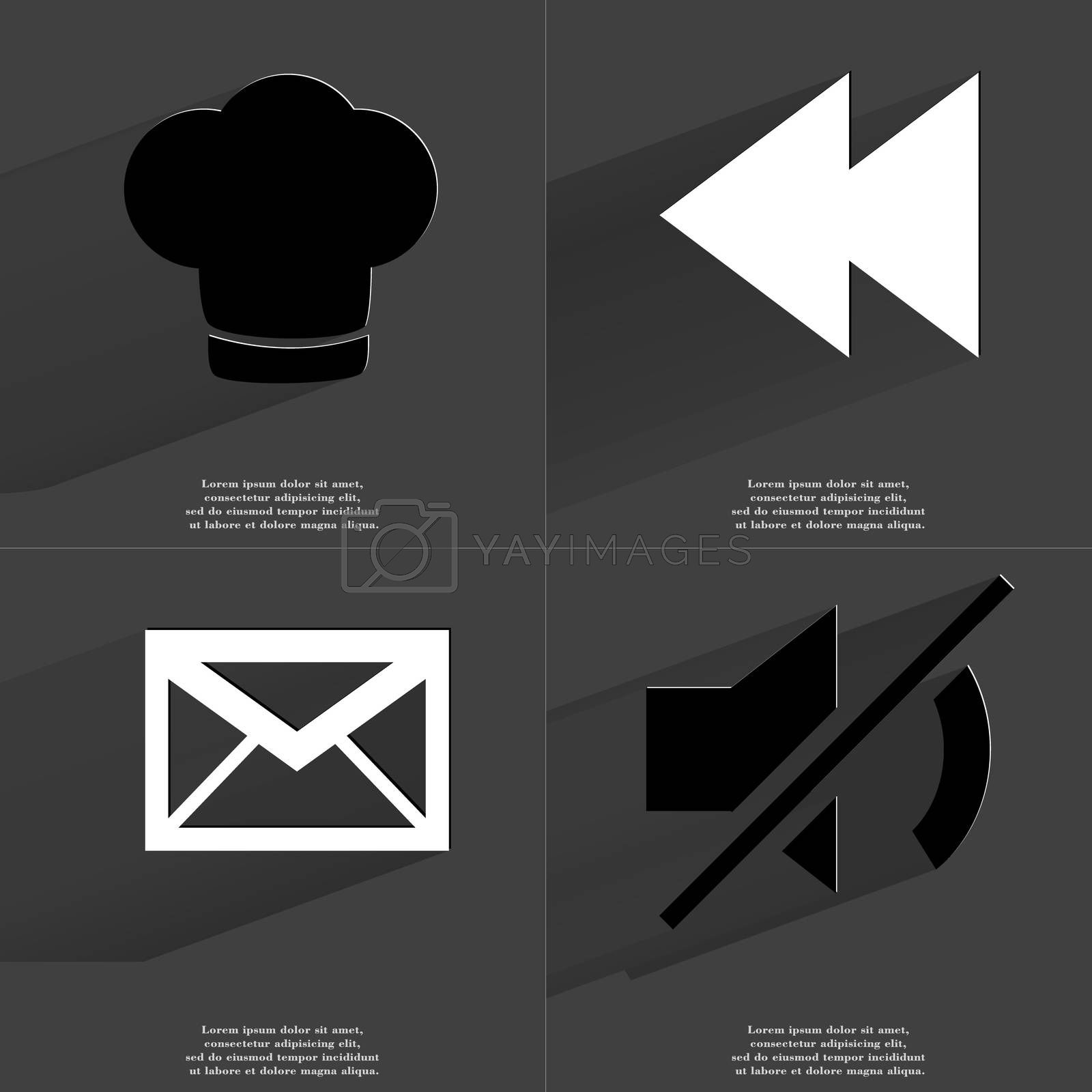 Coocking hat, Two arrows media icon, Message, Mute icon. Symbols with long shadow. Flat design by serhii_lohvyniuk