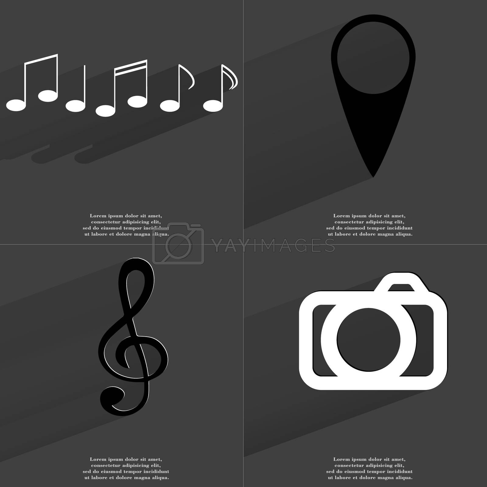 Royalty free image of Notes, Checkpoint, Clef, Camera. Symbols with long shadow. Flat design by serhii_lohvyniuk