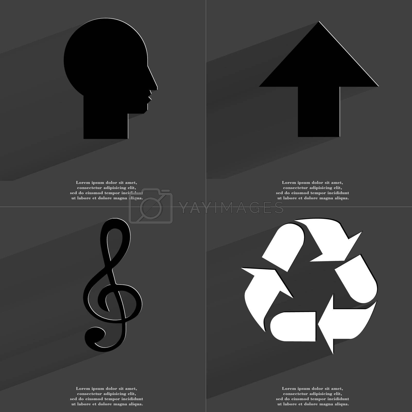 Royalty free image of Silhouette, Arrow directed upwards, Clef, Recycling. Symbols with long shadow. Flat design by serhii_lohvyniuk