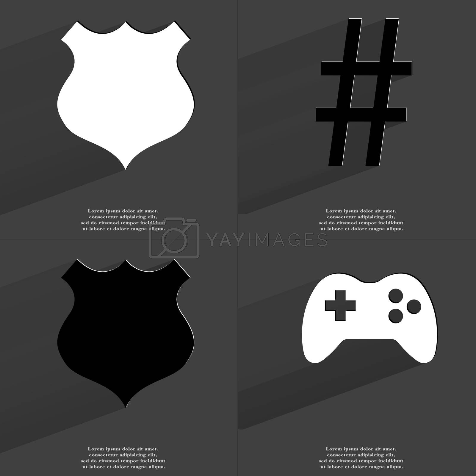 Royalty free image of Police badge, Number sign, Gamepad. Symbols with long shadow. Flat design by serhii_lohvyniuk