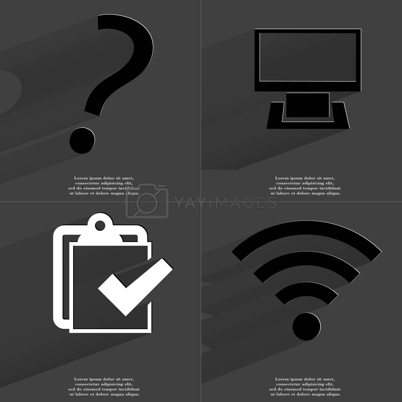 Royalty free image of Question mark, Monitor, Task completed icon, WLAN icon. Symbols with long shadow. Flat design by serhii_lohvyniuk