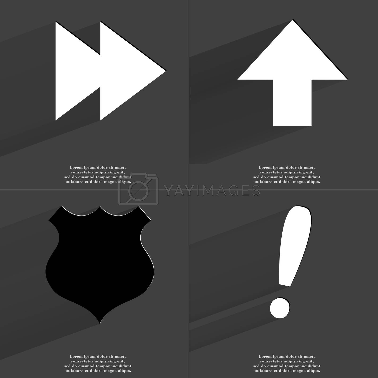 Royalty free image of Two arrows media icon, Arrow directed upwards, Police badge, Exclamation mark. Symbols with long shadow. Flat design by serhii_lohvyniuk
