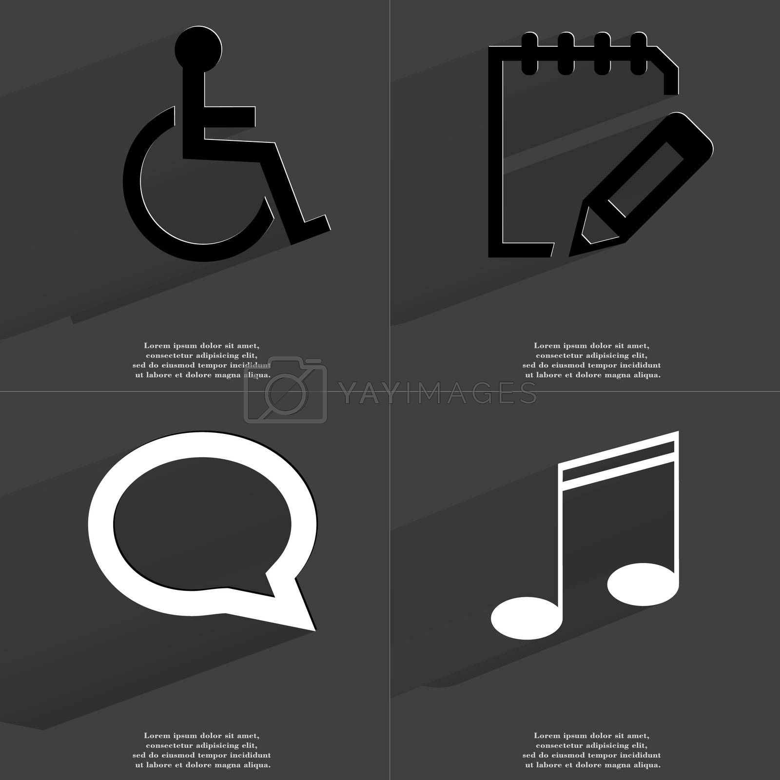Royalty free image of Disabled person, Notebook, Chat bubble, Note sign. Symbols with long shadow. Flat design by serhii_lohvyniuk