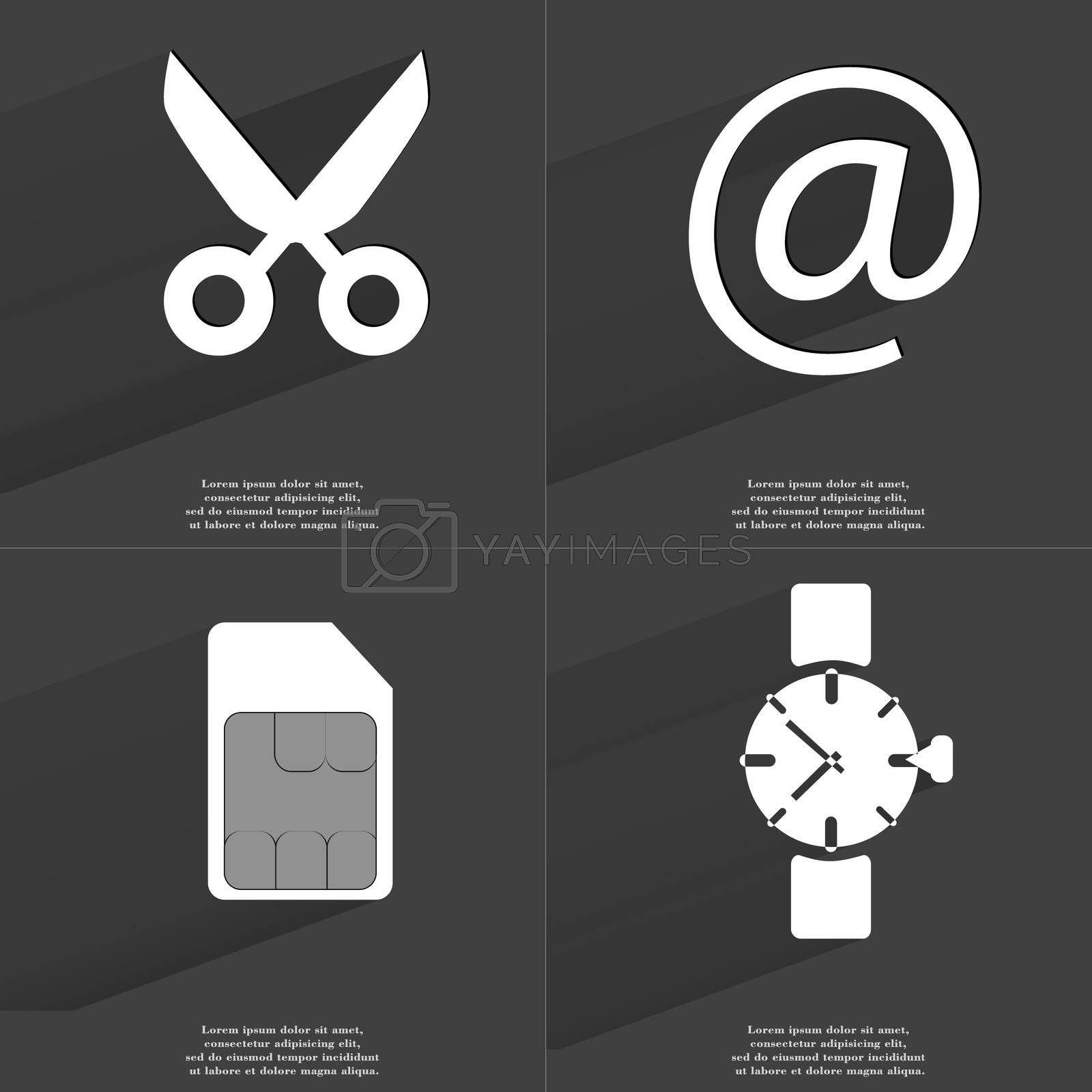 Royalty free image of Scissors, At sign, SIM card, Wrist watch. Symbols with long shadow. Flat design by serhii_lohvyniuk