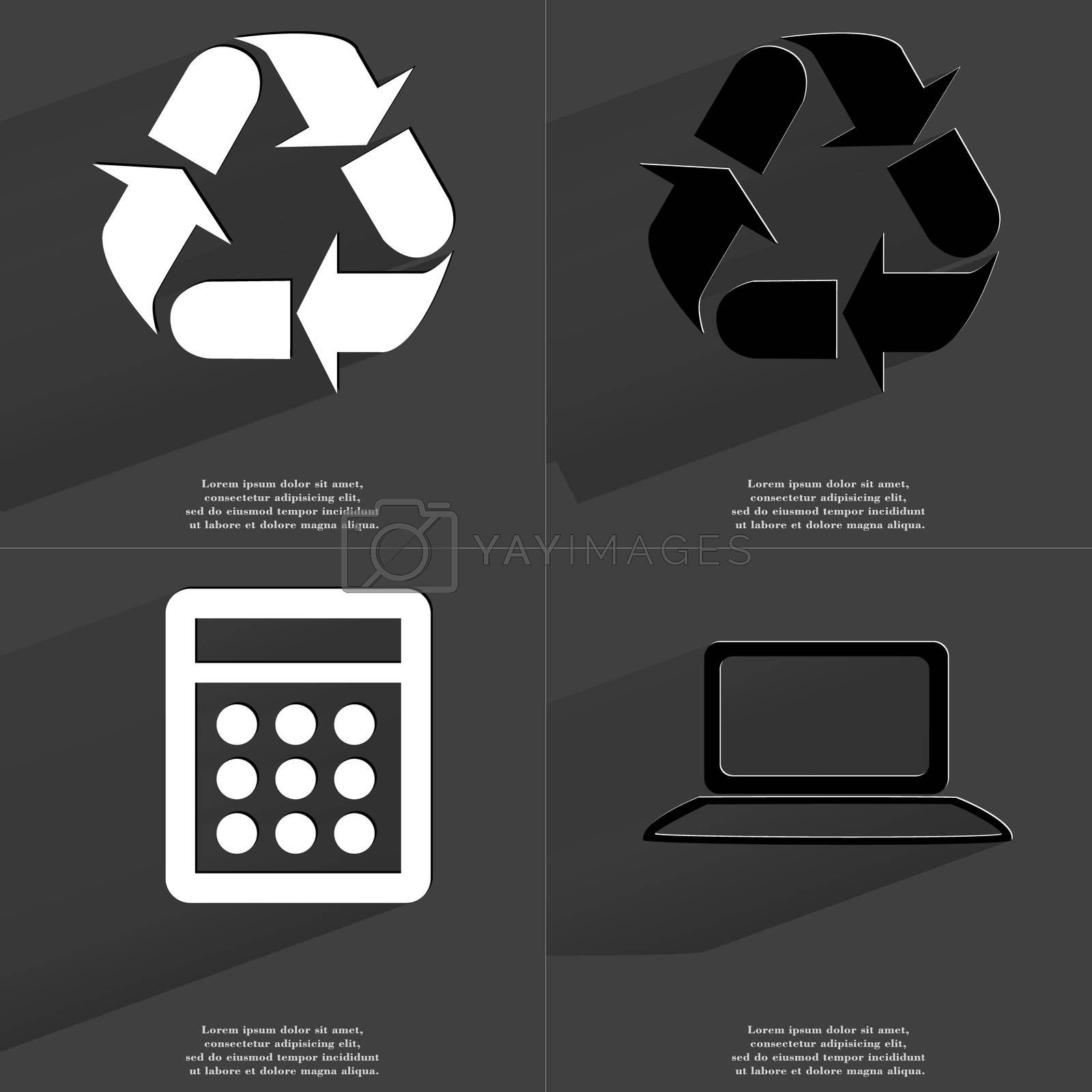 Royalty free image of Recycling, Calculator, Laptop. Symbols with long shadow. Flat design by serhii_lohvyniuk