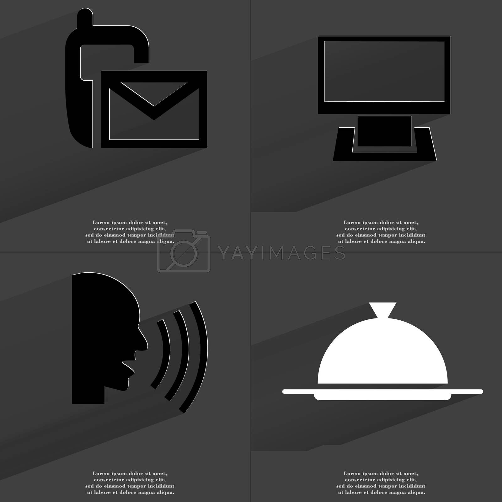 Royalty free image of SMS icon, Monitor, Talk, Tray. Symbols with long shadow. Flat design by serhii_lohvyniuk