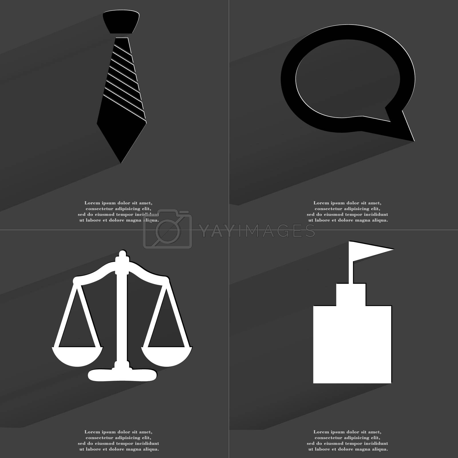 Tie, Chat bubble, Scales, Flag tower. Symbols with long shadow. Flat design by serhii_lohvyniuk