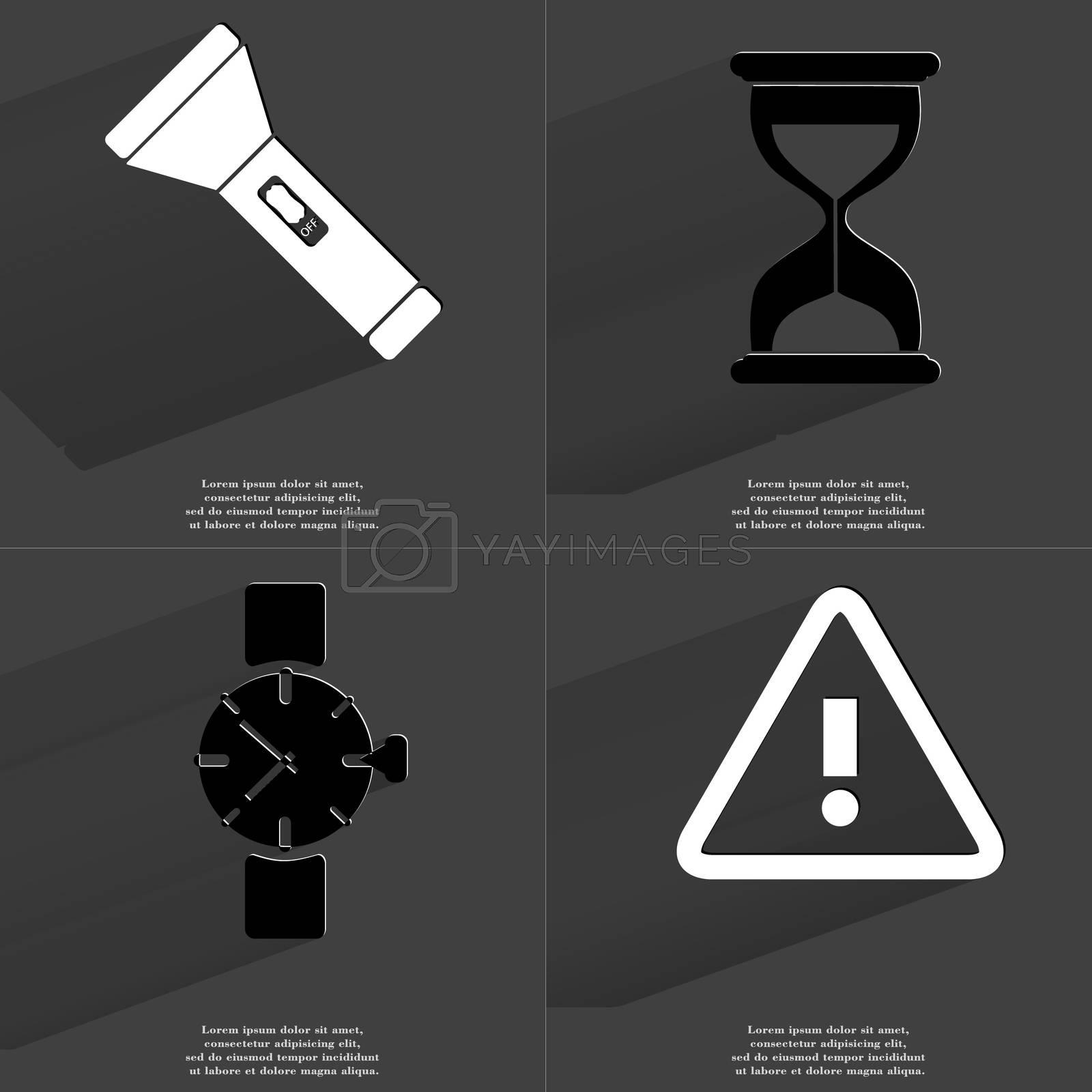 Royalty free image of Flashlight, Hourglass, Wrist watch, Warning sign. Symbols with long shadow. Flat design by serhii_lohvyniuk