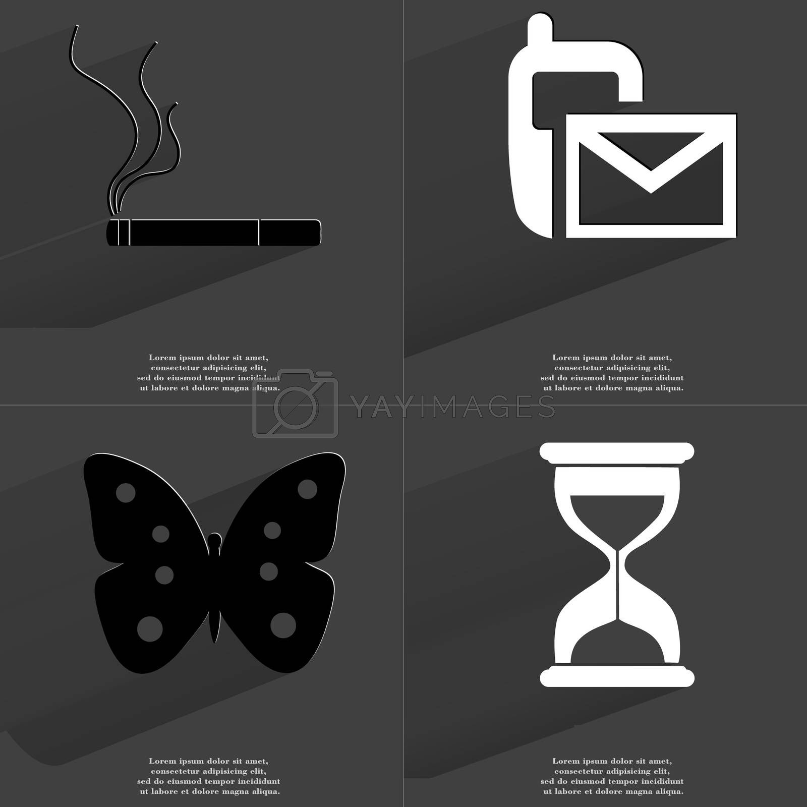 Royalty free image of Cigarette, SMS icon, Butterfly, Hourglass. Symbols with long shadow. Flat design by serhii_lohvyniuk