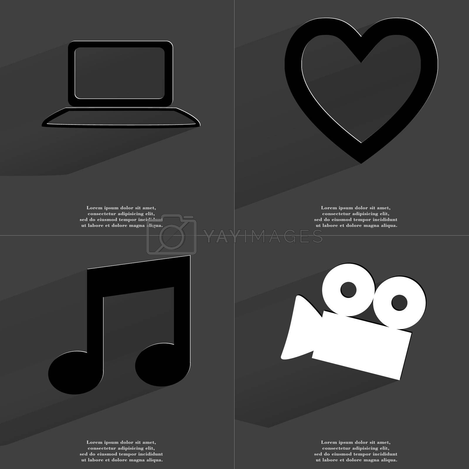 Laptop, Heart, Note sign, Film camera. Symbols with long shadow. Flat design by serhii_lohvyniuk