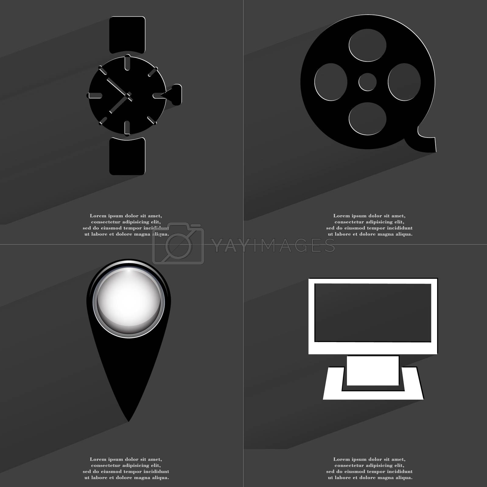 Wrist watch, Videotape, Checkpoint, Monitor. Symbols with long shadow. Flat design by serhii_lohvyniuk