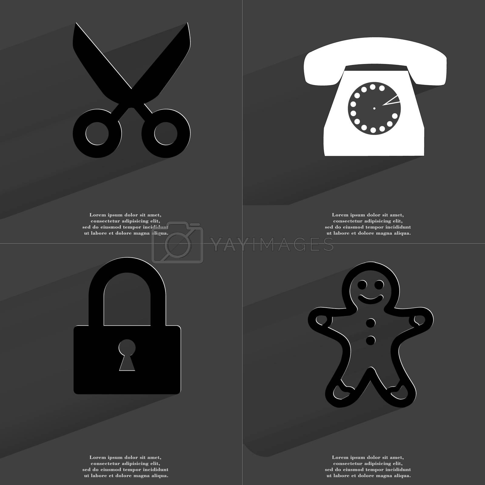 Royalty free image of Scissors, Retro phone, Lock, Gingerbread man. Symbols with long shadow. Flat design by serhii_lohvyniuk