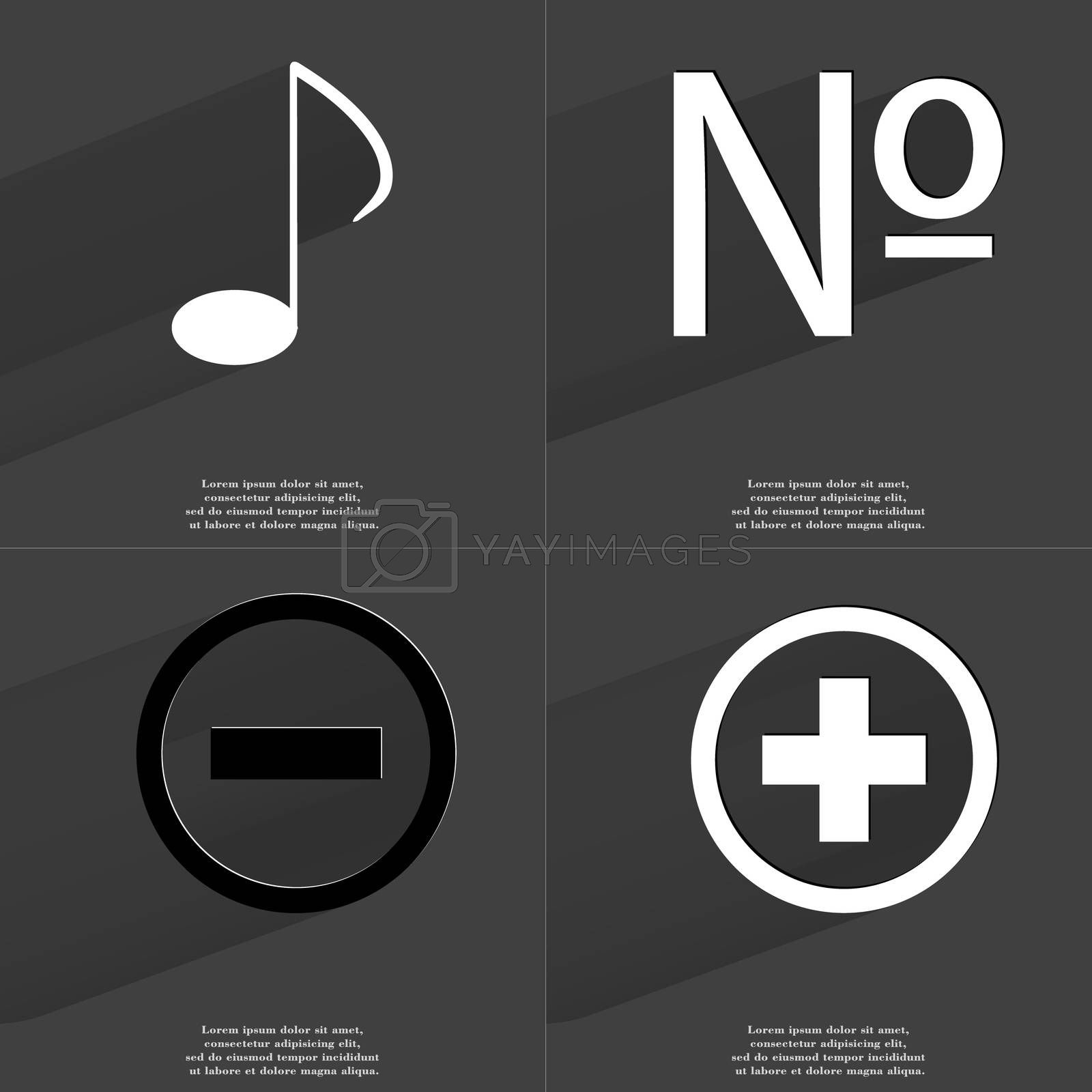 Royalty free image of Note sign, Number, Minus, Plus. Symbols with long shadow. Flat design by serhii_lohvyniuk