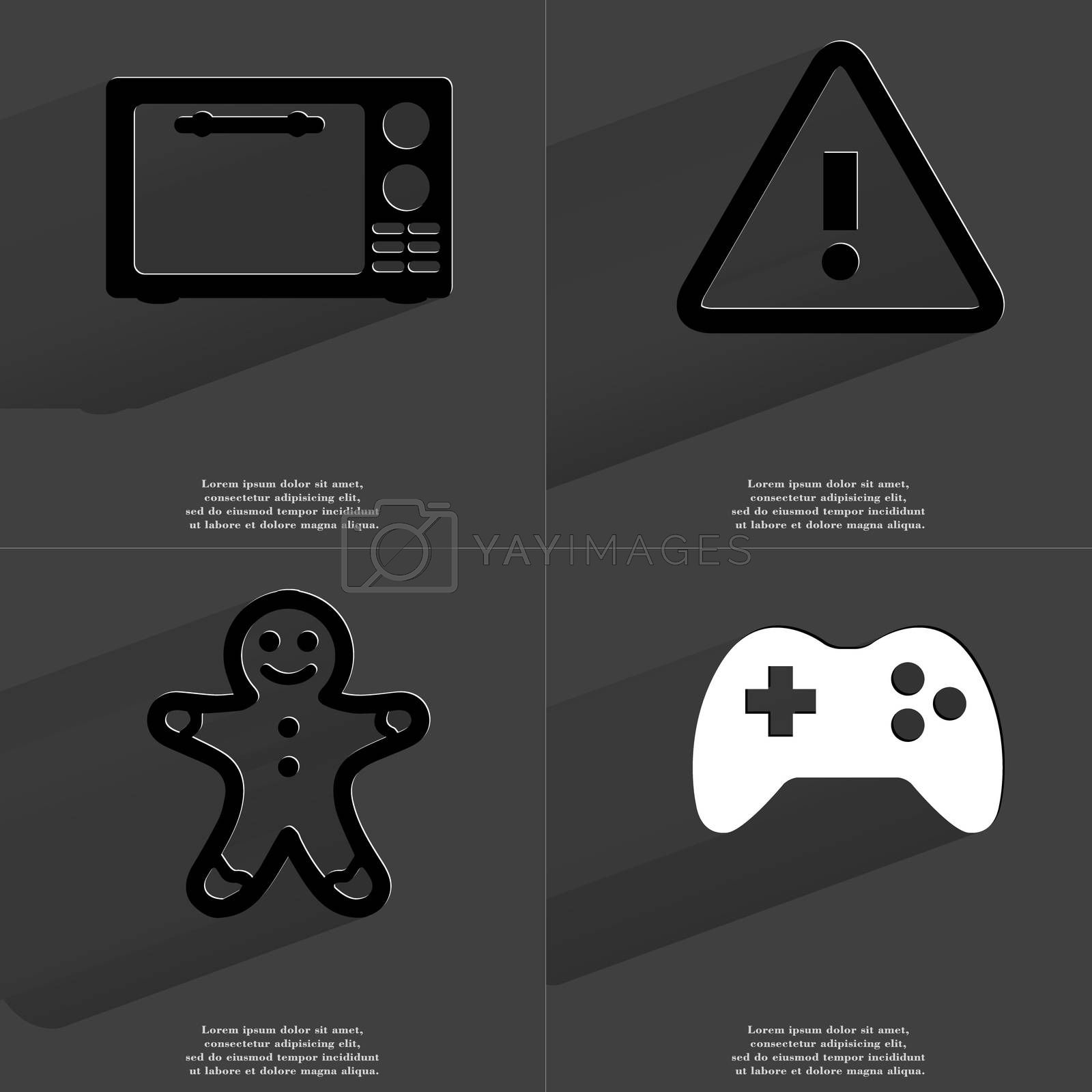 Royalty free image of Microwave, Information sign, Gingerbread man, Gamepad. Symbols with long shadow. Flat design by serhii_lohvyniuk