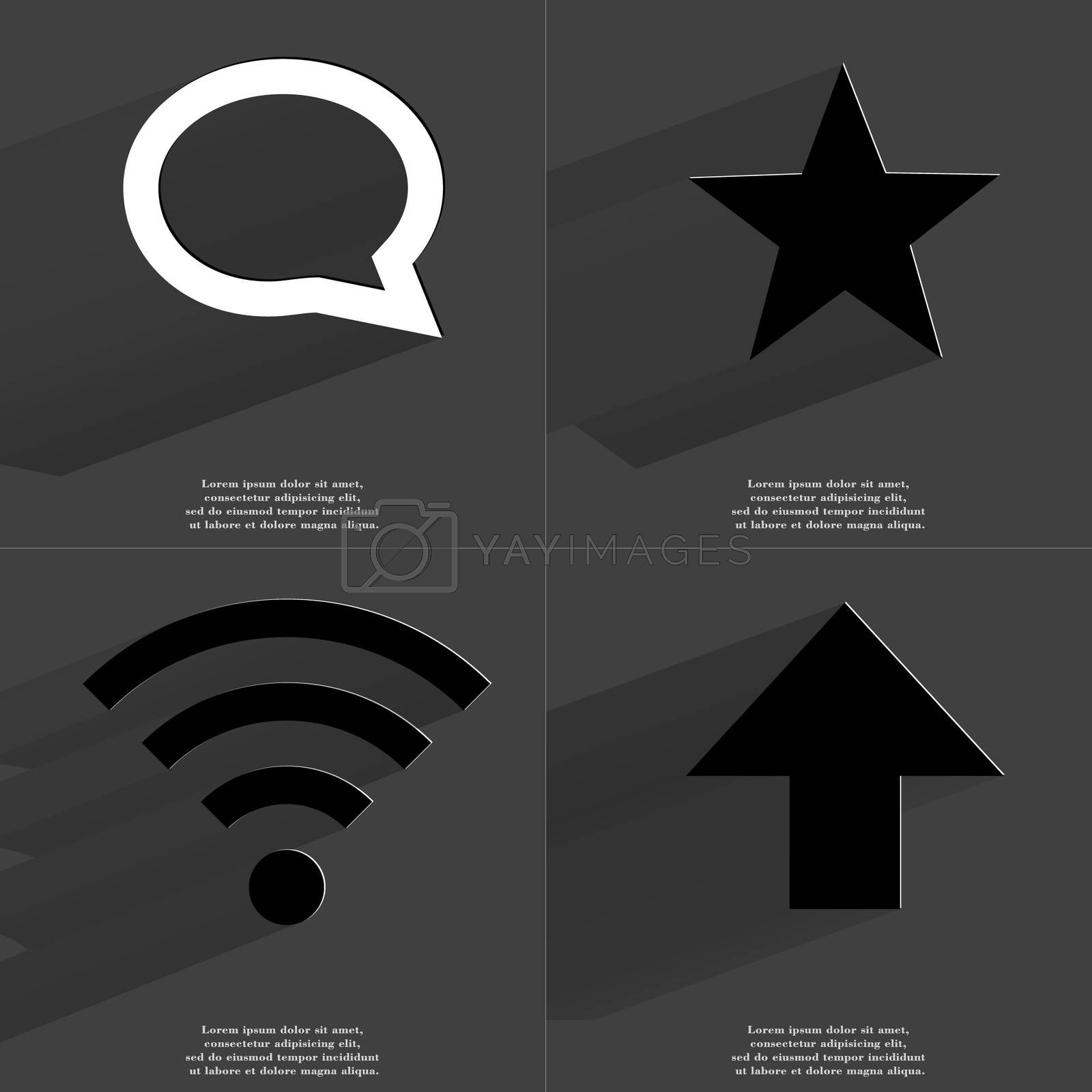 Royalty free image of Chat bubble, Star, WLAN icon, Arrow directed upwards. Symbols with long shadow. Flat design by serhii_lohvyniuk
