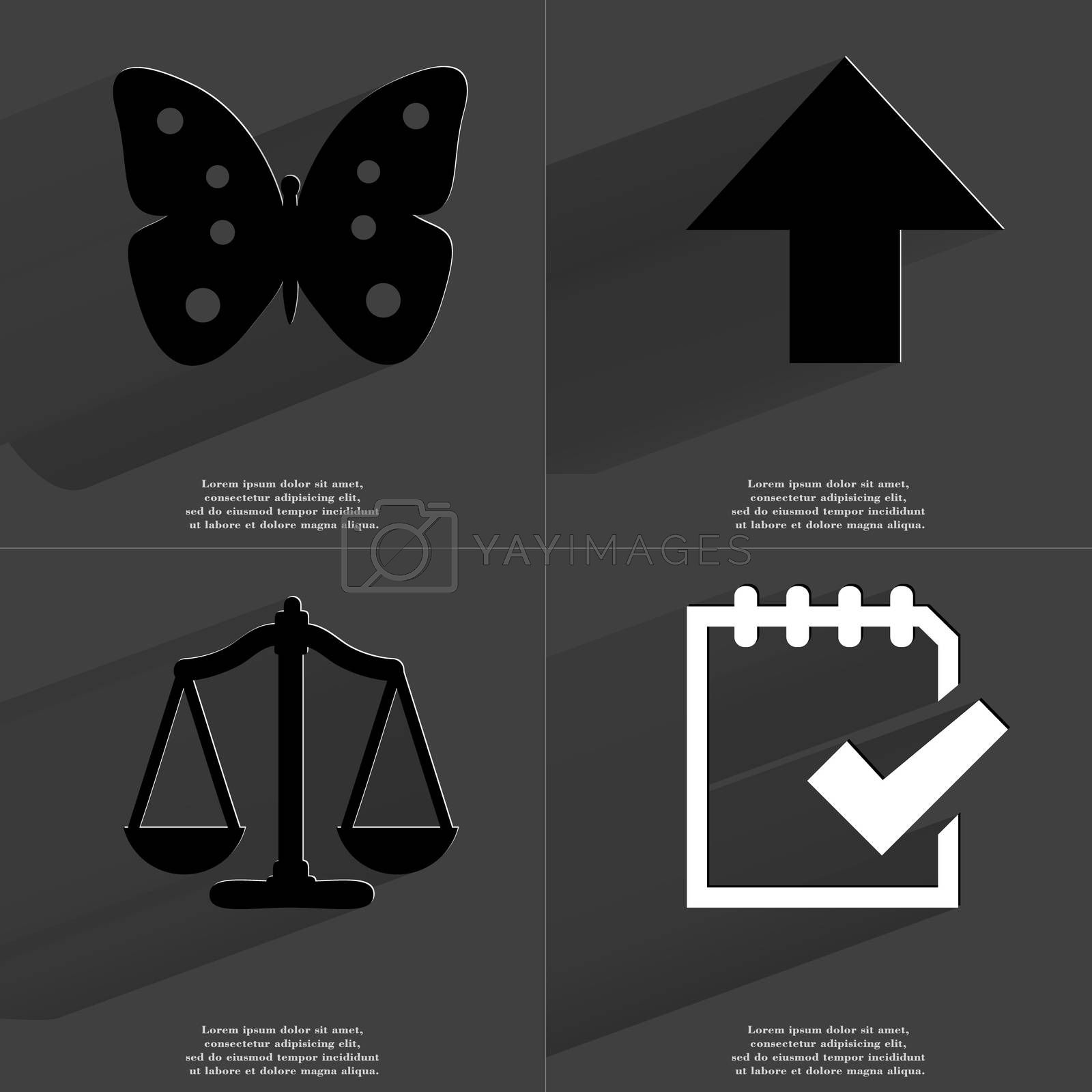 Butterfly, Arrow directed upwards, Scales, Task completed icon. Symbols with long shadow. Flat design by serhii_lohvyniuk