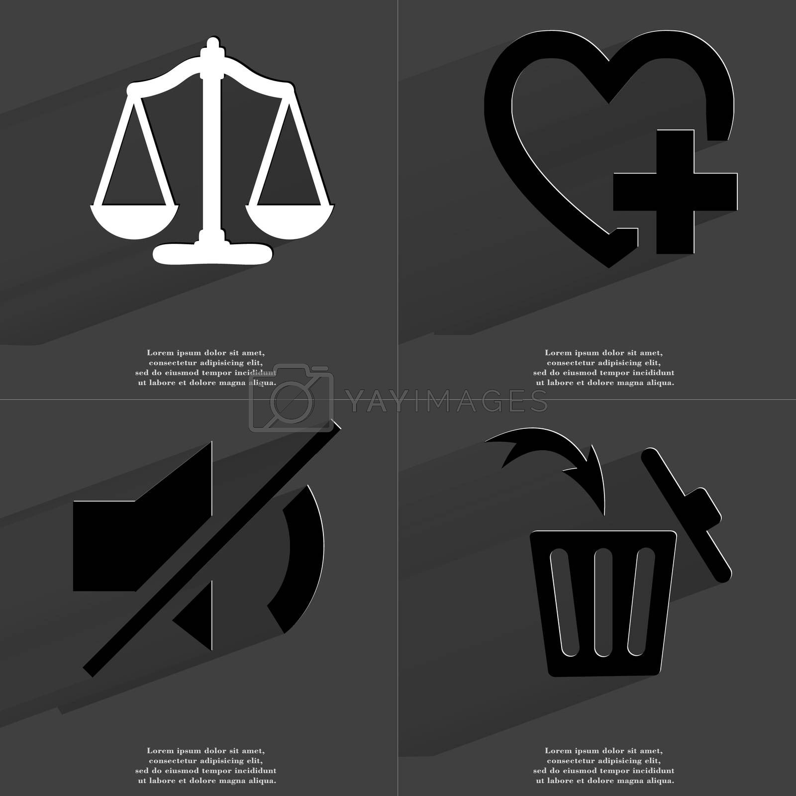 Royalty free image of Scales, Heart plus sign, Mute icon, Trash can. Symbols with long shadow. Flat design by serhii_lohvyniuk