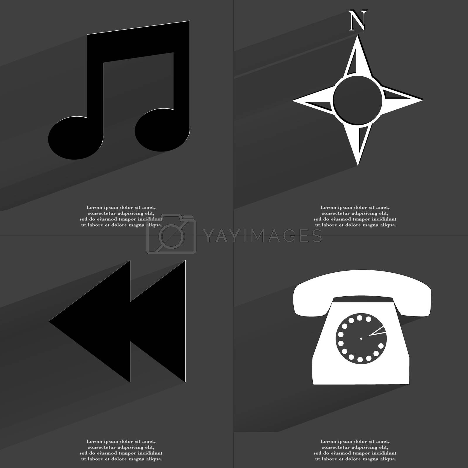 Royalty free image of Note sign, Compass, Two arrows media icon, Retro phone. Symbols with long shadow. Flat design by serhii_lohvyniuk