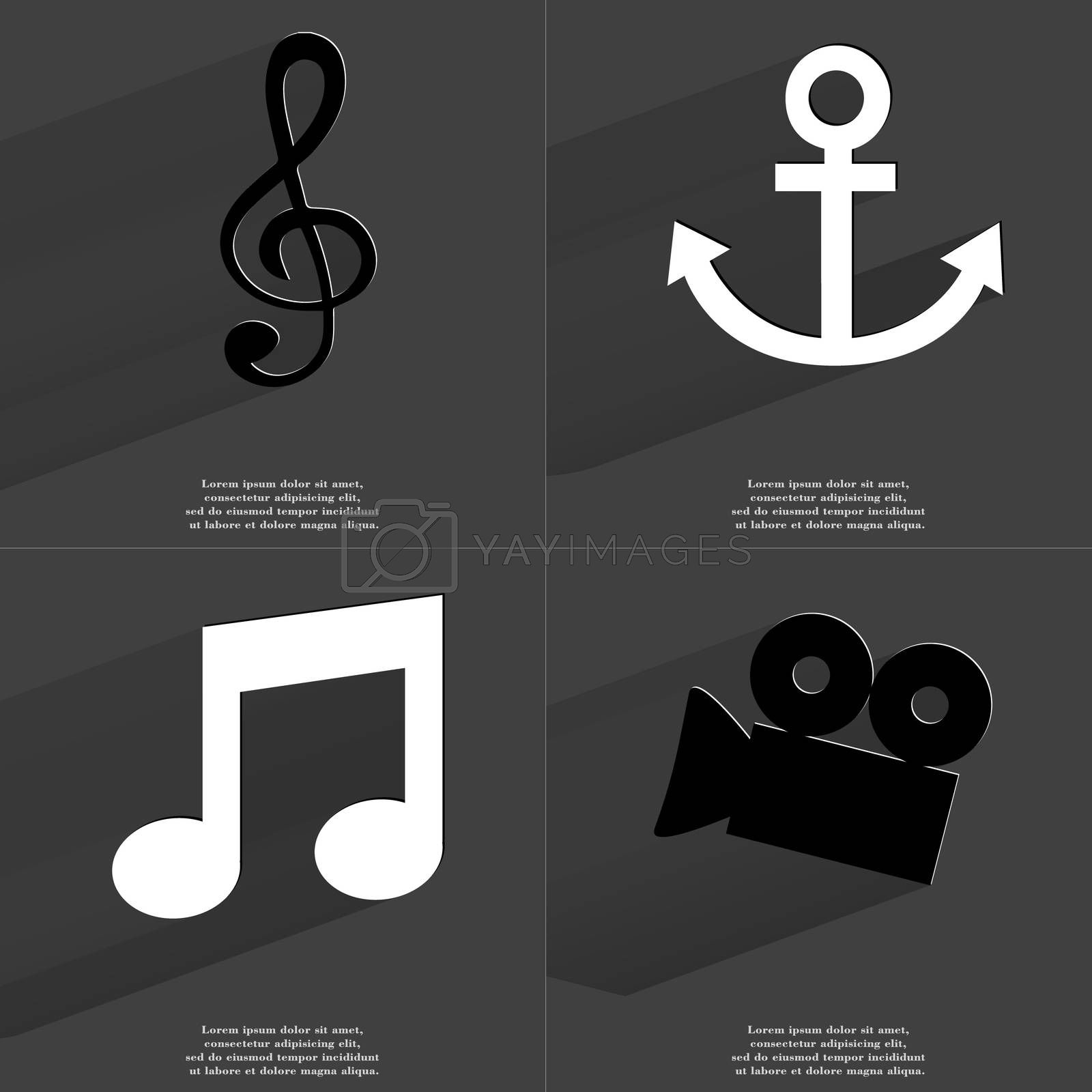 Clef, Anchor, Note sign, Film camera. Symbols with long shadow. Flat design by serhii_lohvyniuk