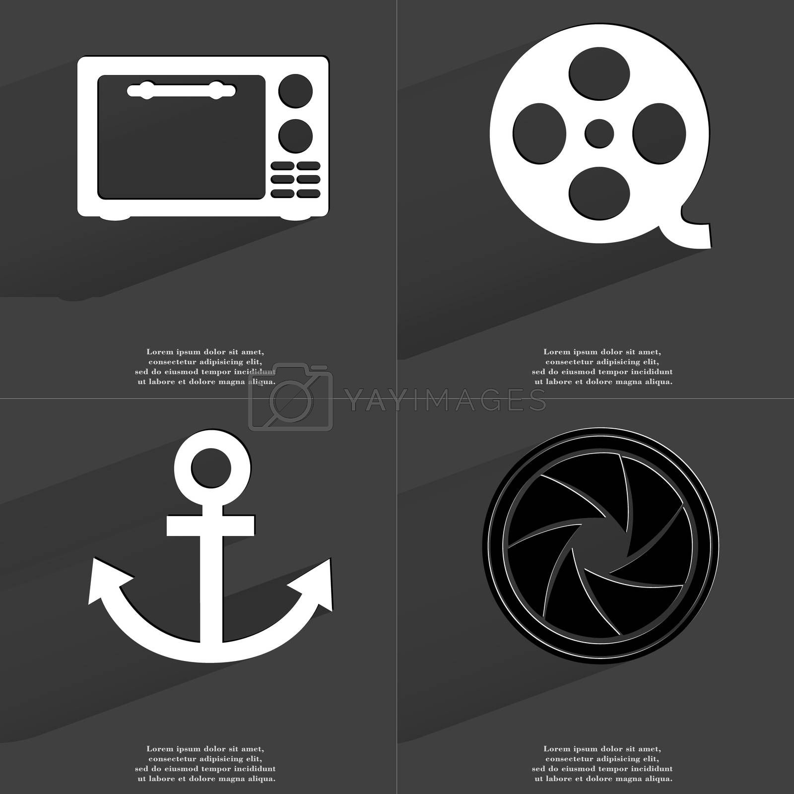 Microwave, Videotape, Anchor, Lens. Symbols with long shadow. Flat design by serhii_lohvyniuk
