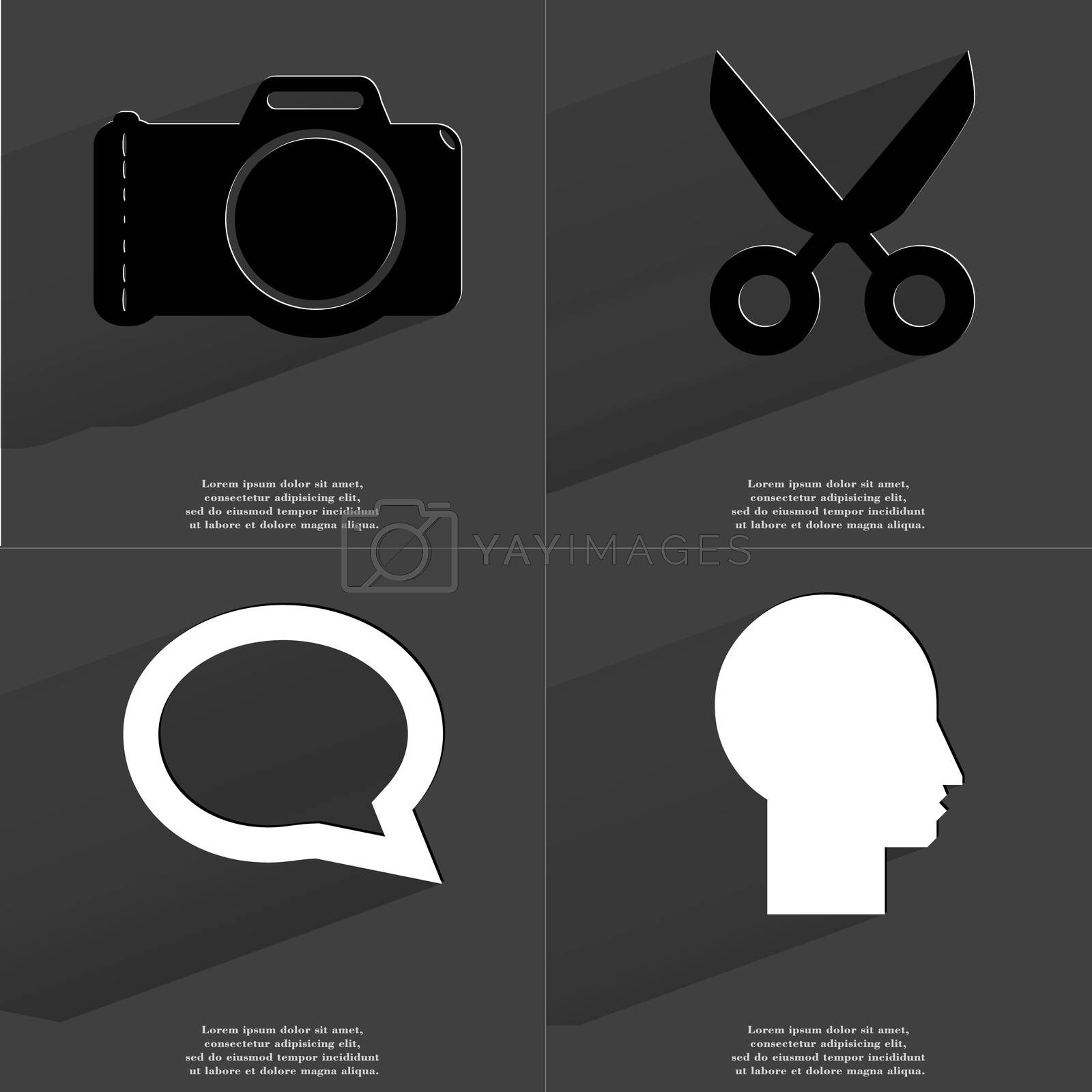 Royalty free image of Camera, Scissors, Chat bubble, Silhouette. Symbols with long shadow. Flat design by serhii_lohvyniuk