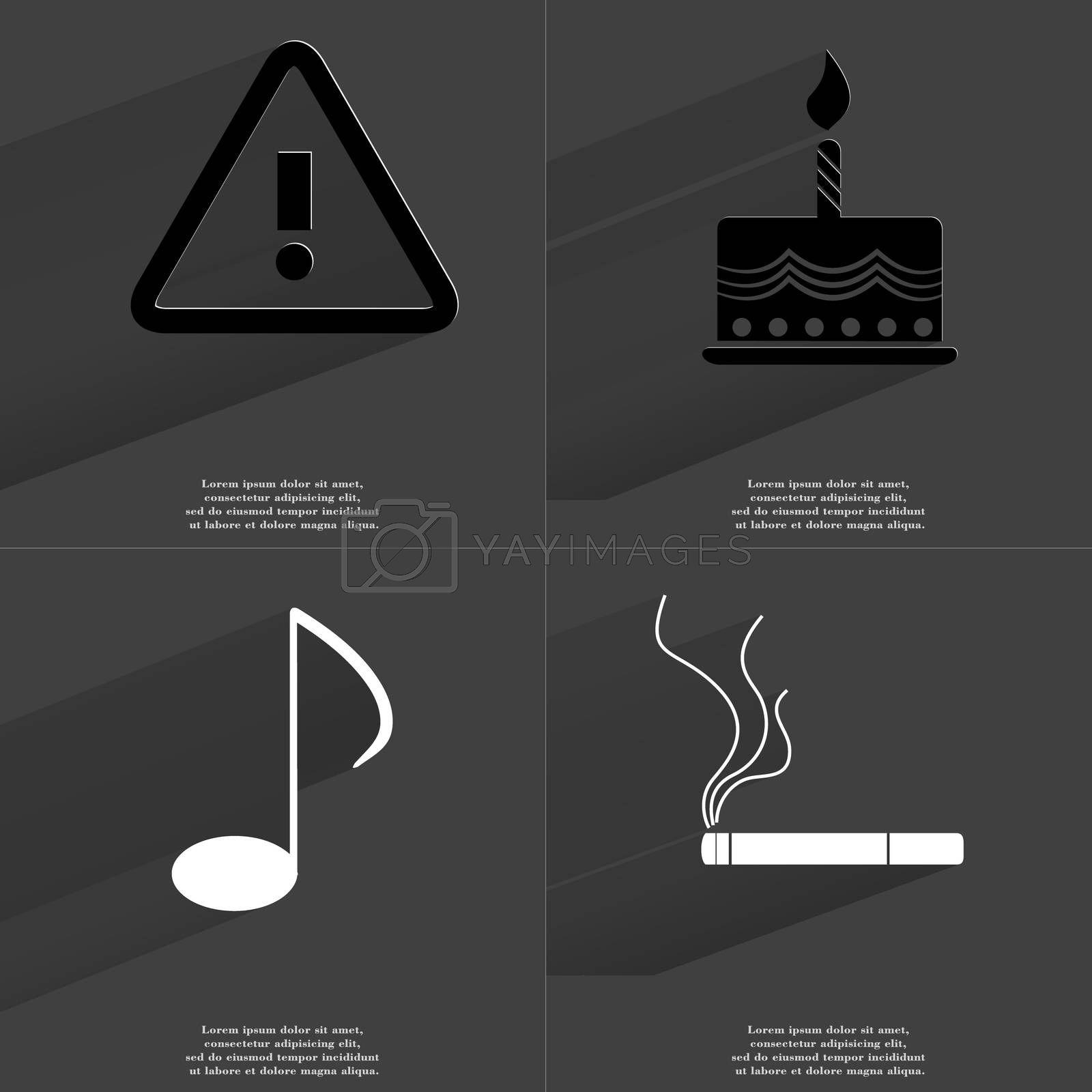 Royalty free image of Warning sign, Cake, Note , Cigarette. Symbols with long shadow. Flat design by serhii_lohvyniuk