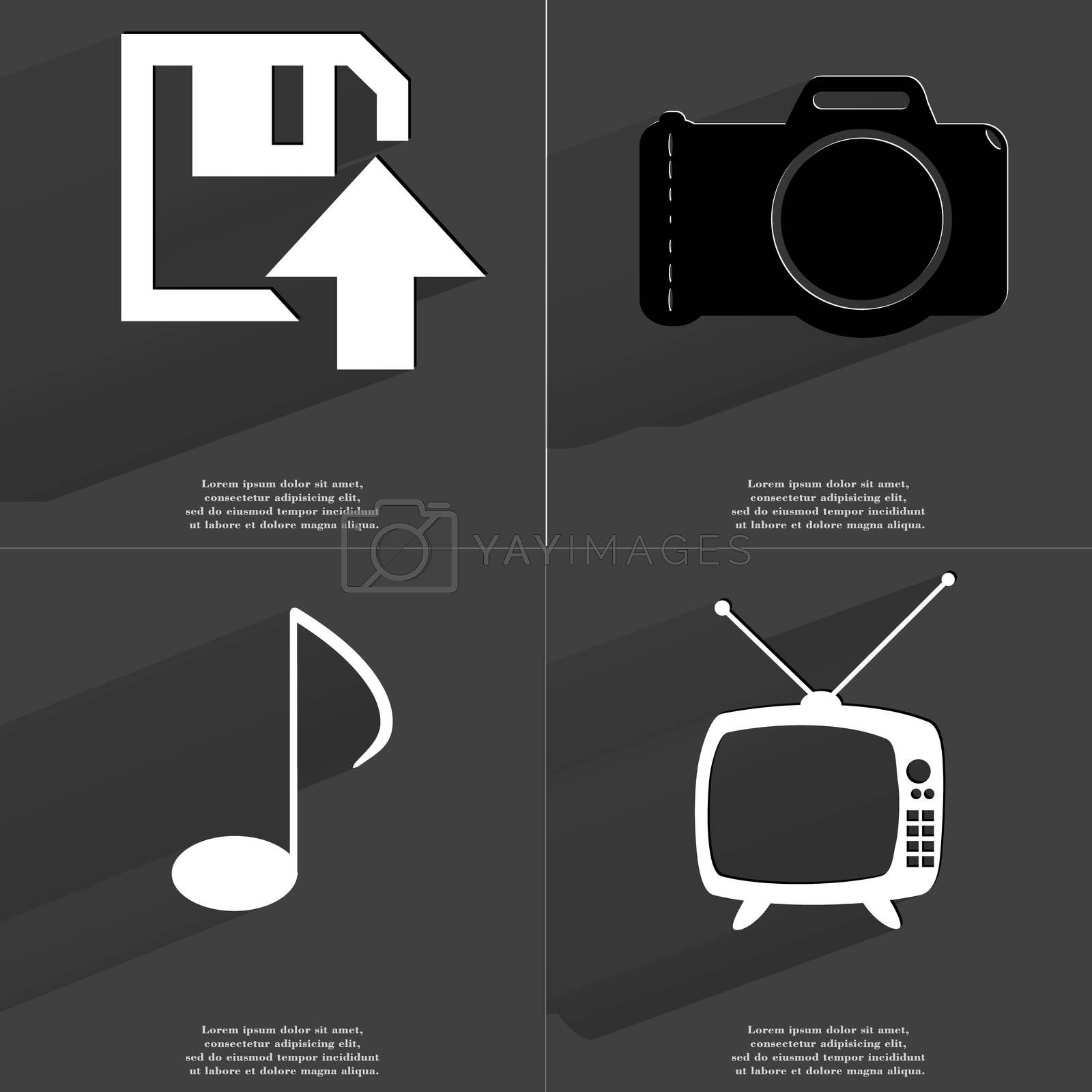 Royalty free image of Floppy disk upload icon, Camera, Note sign, Retro TV. Symbols with long shadow. Flat design by serhii_lohvyniuk