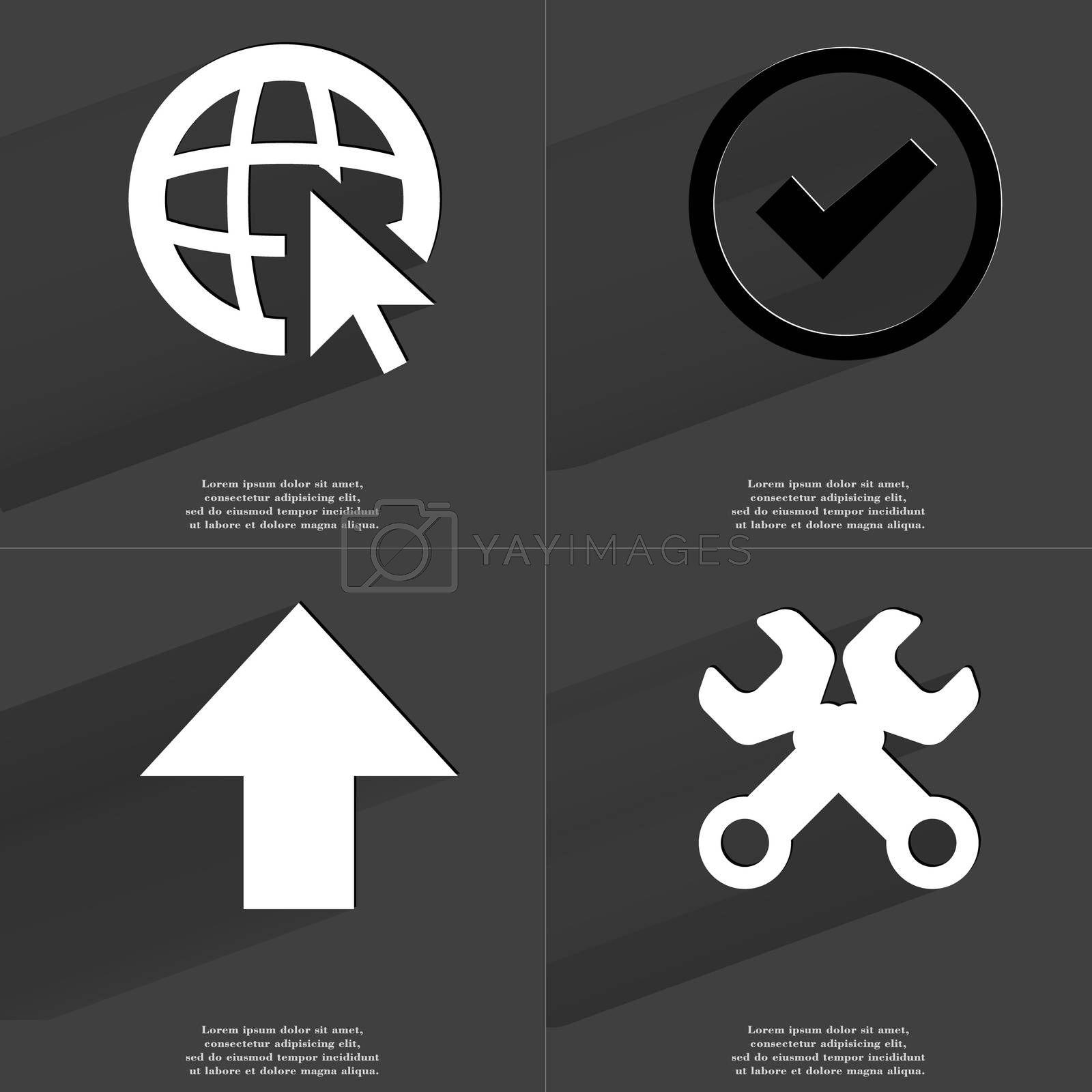 Royalty free image of Web icon cursor, Tick sign, Arrow directed upwards, Wrenches. Symbols with long shadow. Flat design by serhii_lohvyniuk