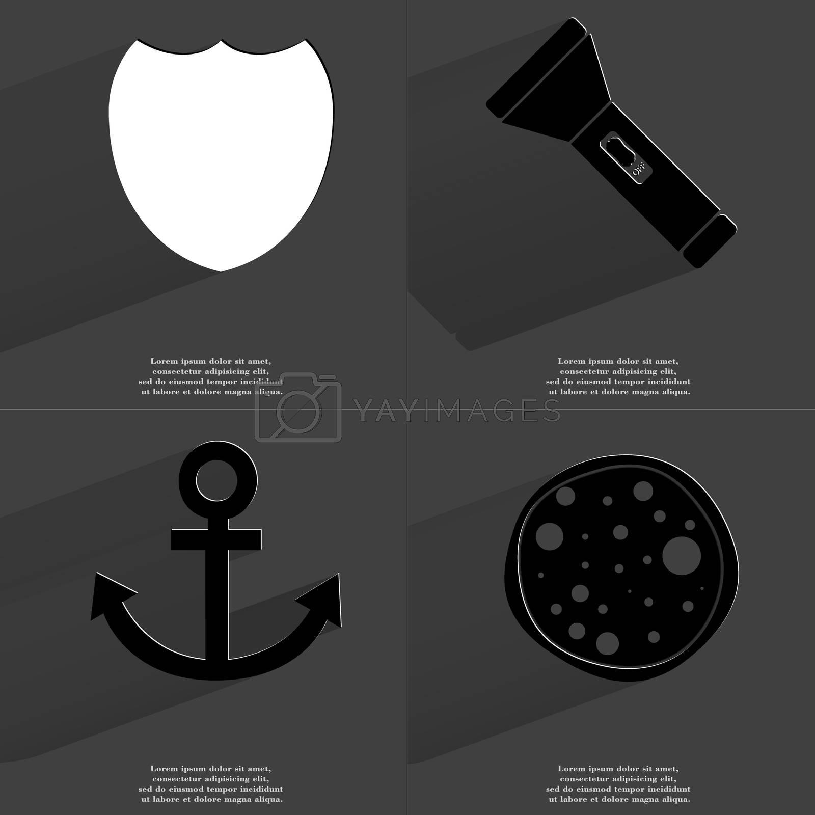 Badge, Flashlight, Anchor, Pizza. Symbols with long shadow. Flat design by serhii_lohvyniuk