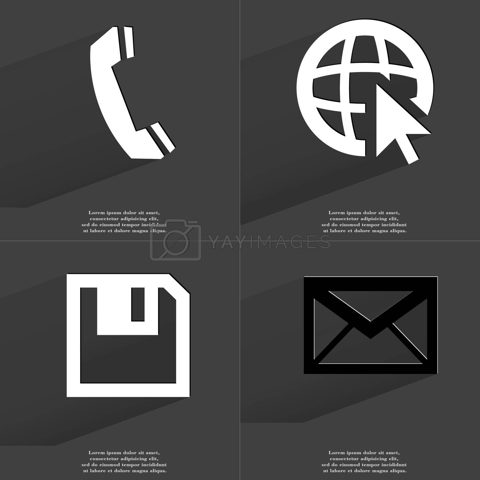 Receiver, Web icon cursor, Floppy disk, Message. Symbols with long shadow. Flat design by serhii_lohvyniuk