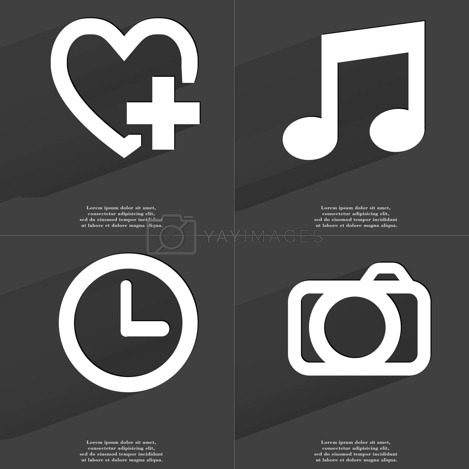 Royalty free image of Heart plus, Note sign, Clock, Camera. Symbols with long shadow. Flat design by serhii_lohvyniuk