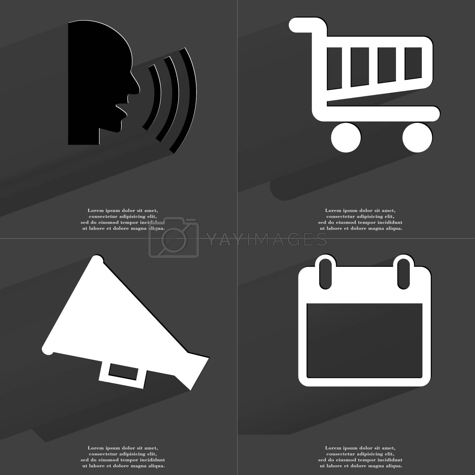 Royalty free image of Talk, Shopping cart, Megaphone, Calendar. Symbols with long shadow. Flat design by serhii_lohvyniuk