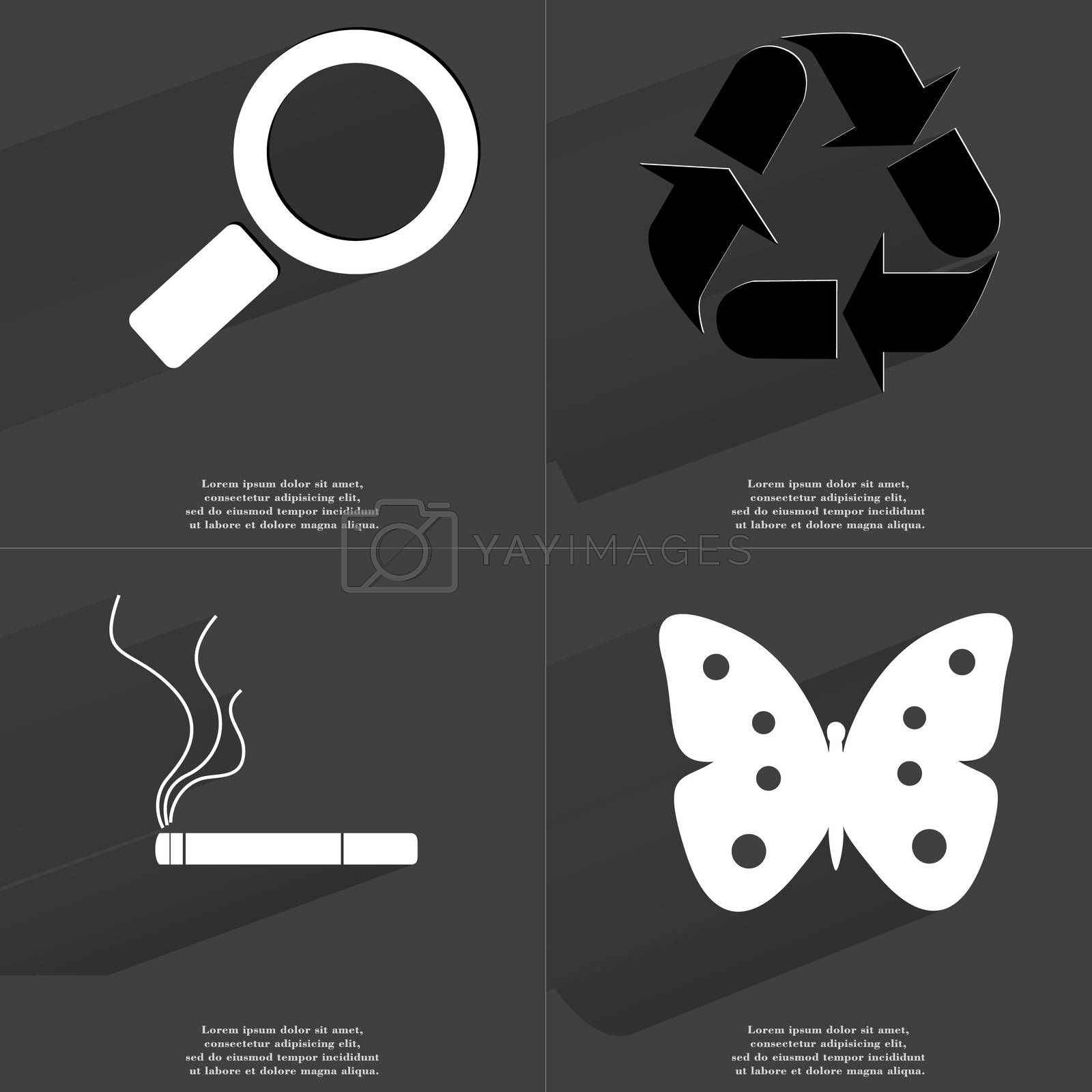 Royalty free image of Magnifying glass, Recycling, Cigarette, Butterfly. Symbols with long shadow. Flat design by serhii_lohvyniuk
