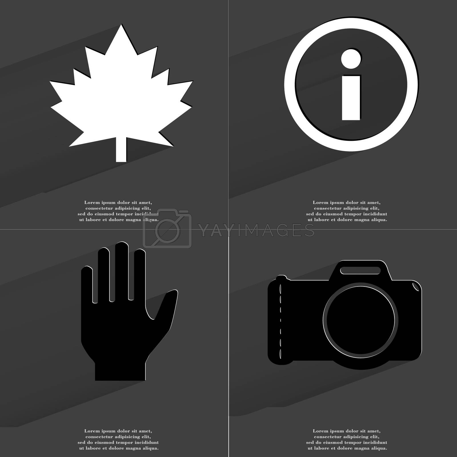 Royalty free image of Maple leaf, Information sign, Hand, Camera. Symbols with long shadow. Flat design by serhii_lohvyniuk