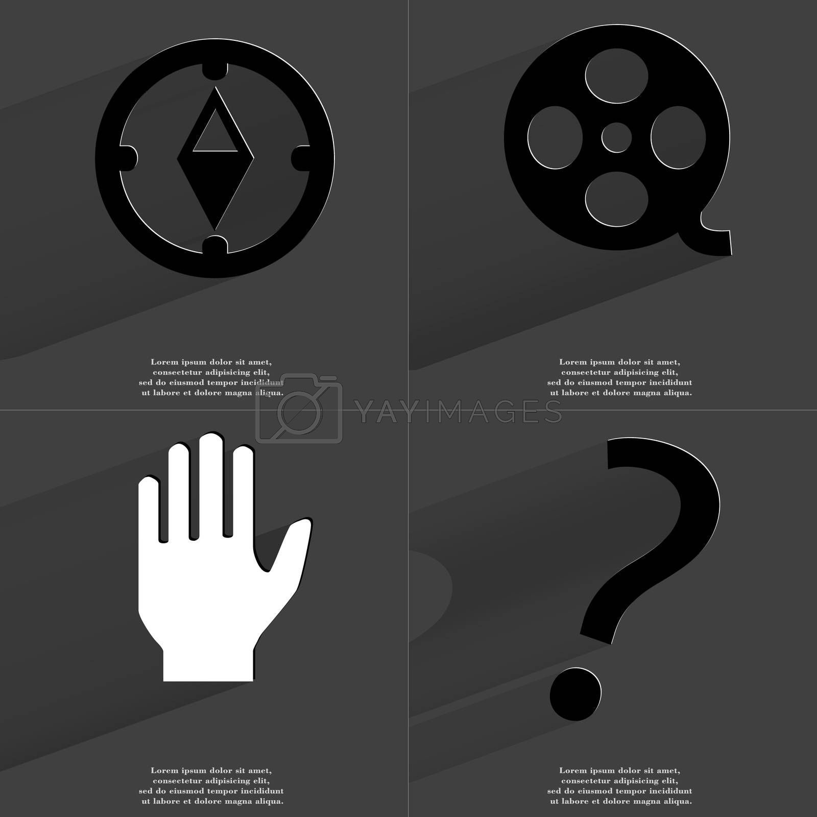 Compass, Videotape, Hand, Question mark. Symbols with long shadow. Flat design by serhii_lohvyniuk