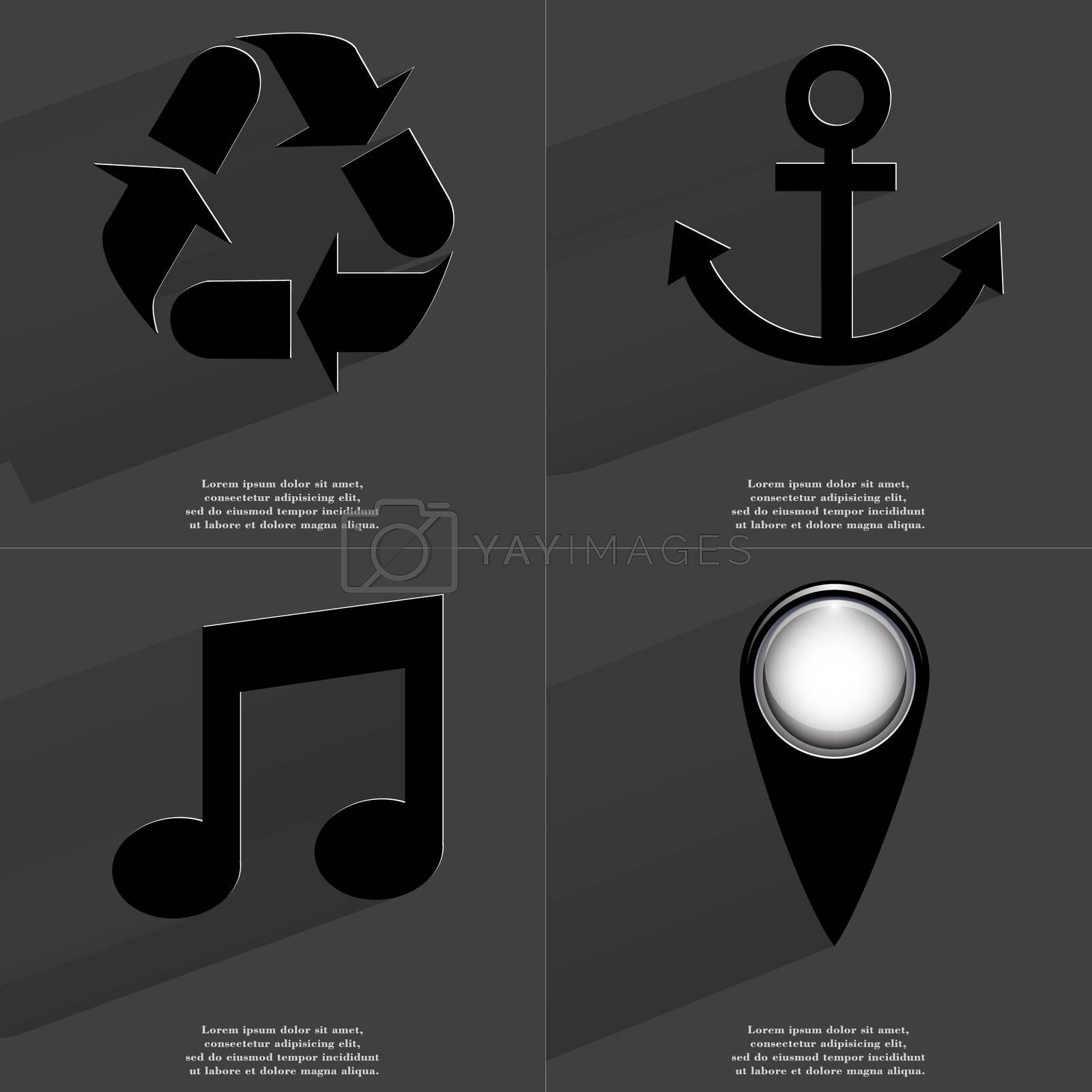 Royalty free image of Recycling, Anchor, Note sign, Checkpoint. Symbols with long shadow. Flat design by serhii_lohvyniuk
