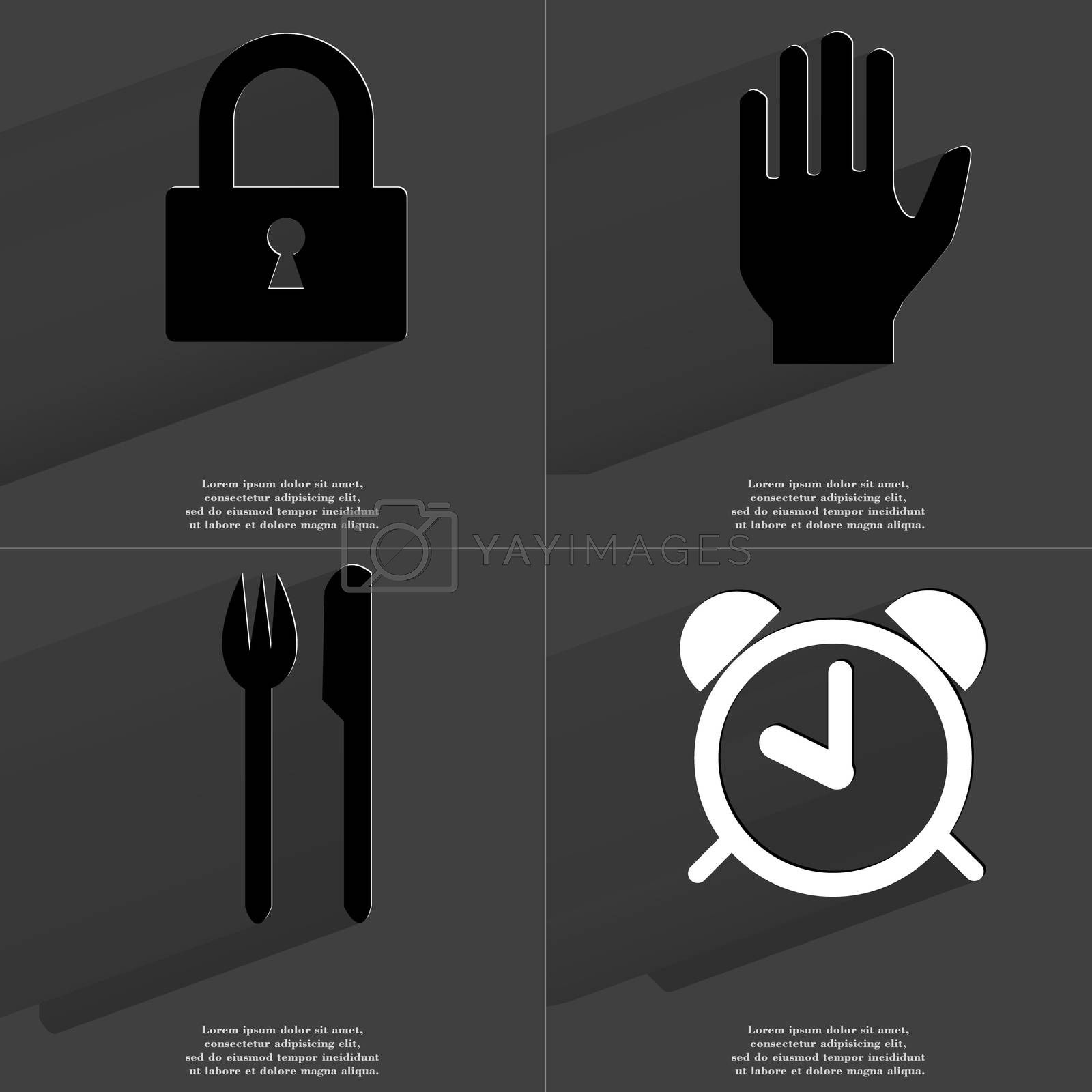 Royalty free image of Lock, Hand, Fork and knife, Alarm clock. Symbols with long shadow. Flat design by serhii_lohvyniuk